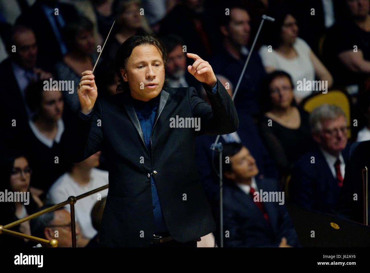 Estonian conductor Kristjan Jarvi  conducts the Czech Philharmonic within Prague Spring music festival in Prague, Stock Photo