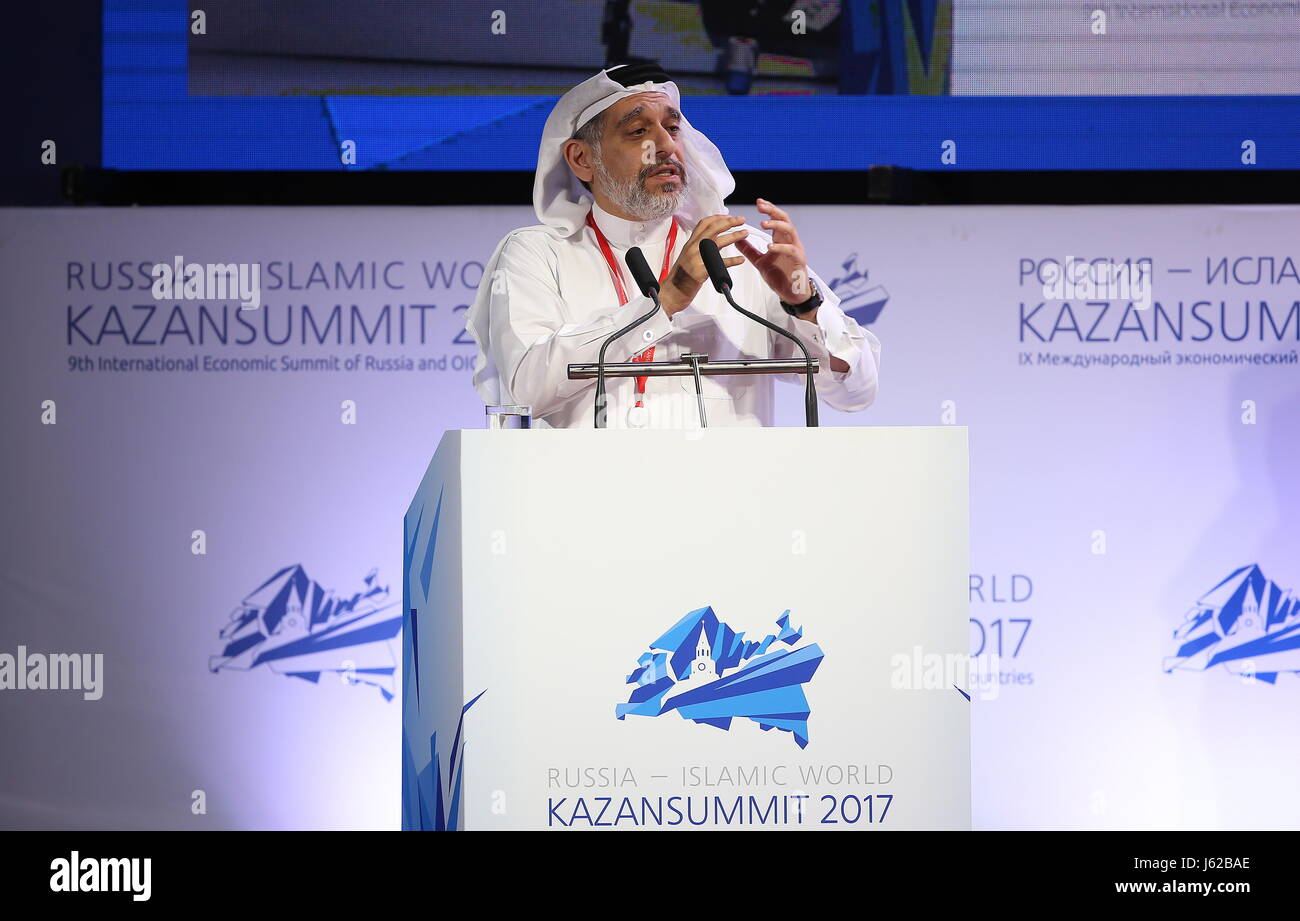 Kazan, Russia. 19th May, 2017. Chairman of The Kanoo Group, Mishal Hamed Kanoo, addresses a plenary session titled - Stock Image