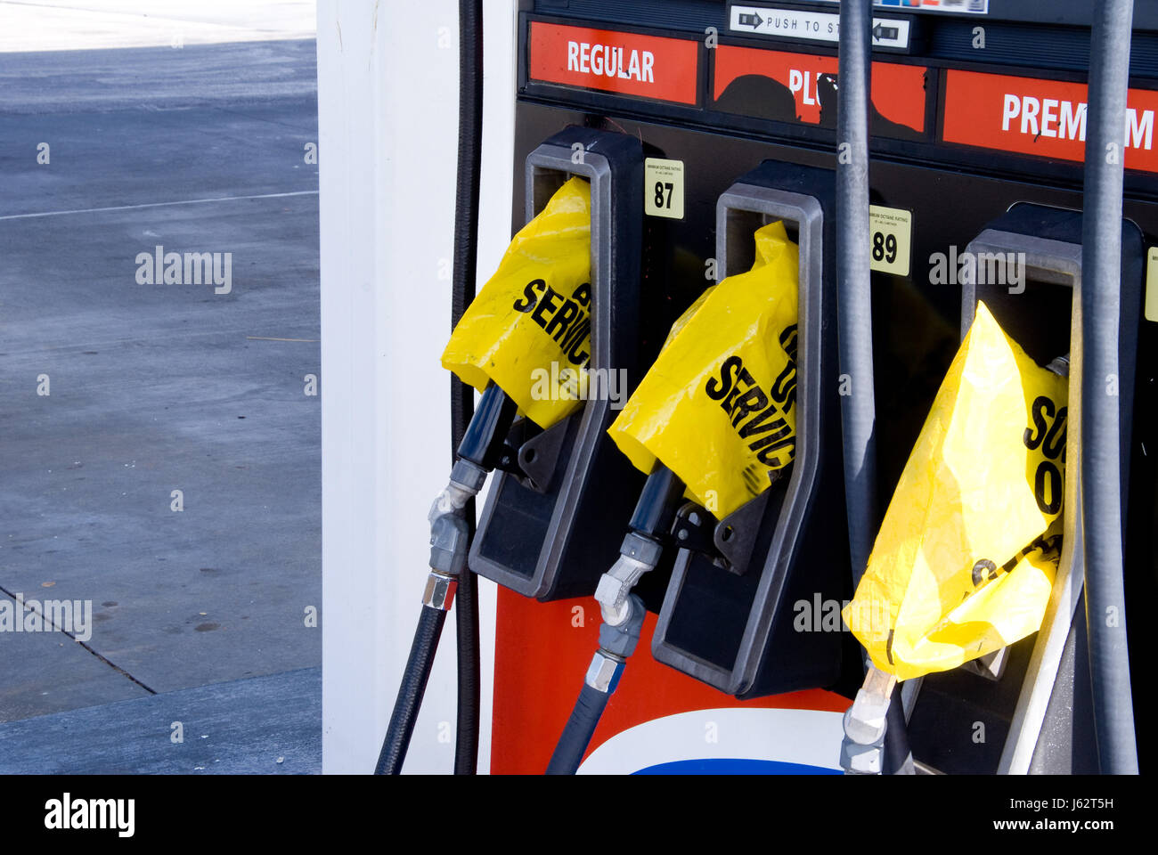 crisis gas empty petrol gasoline shortage oil pump station travel industry - Stock Image
