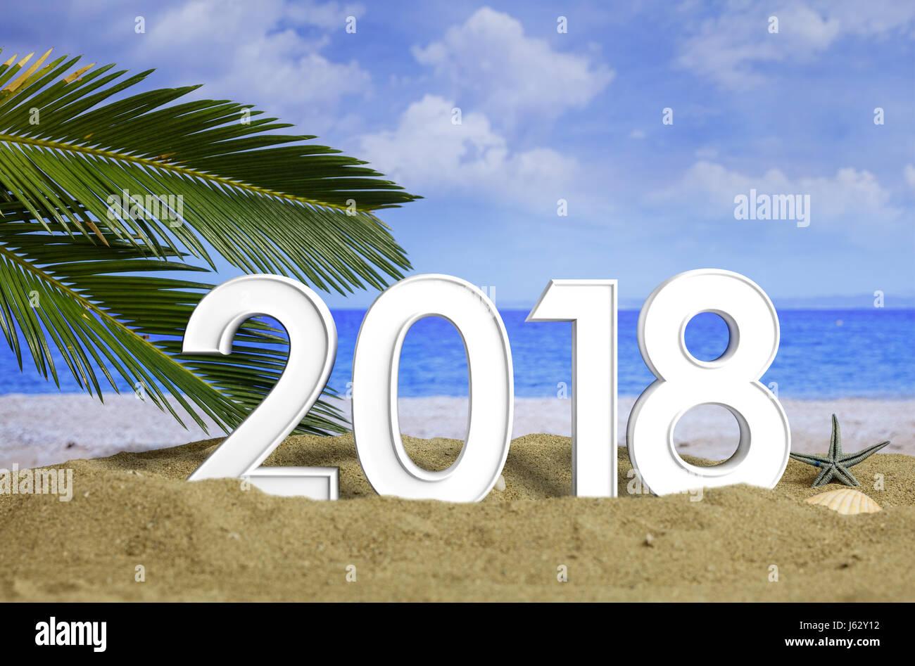 New Year 2018 On A Sandy Beach. New Year Beach Vacation