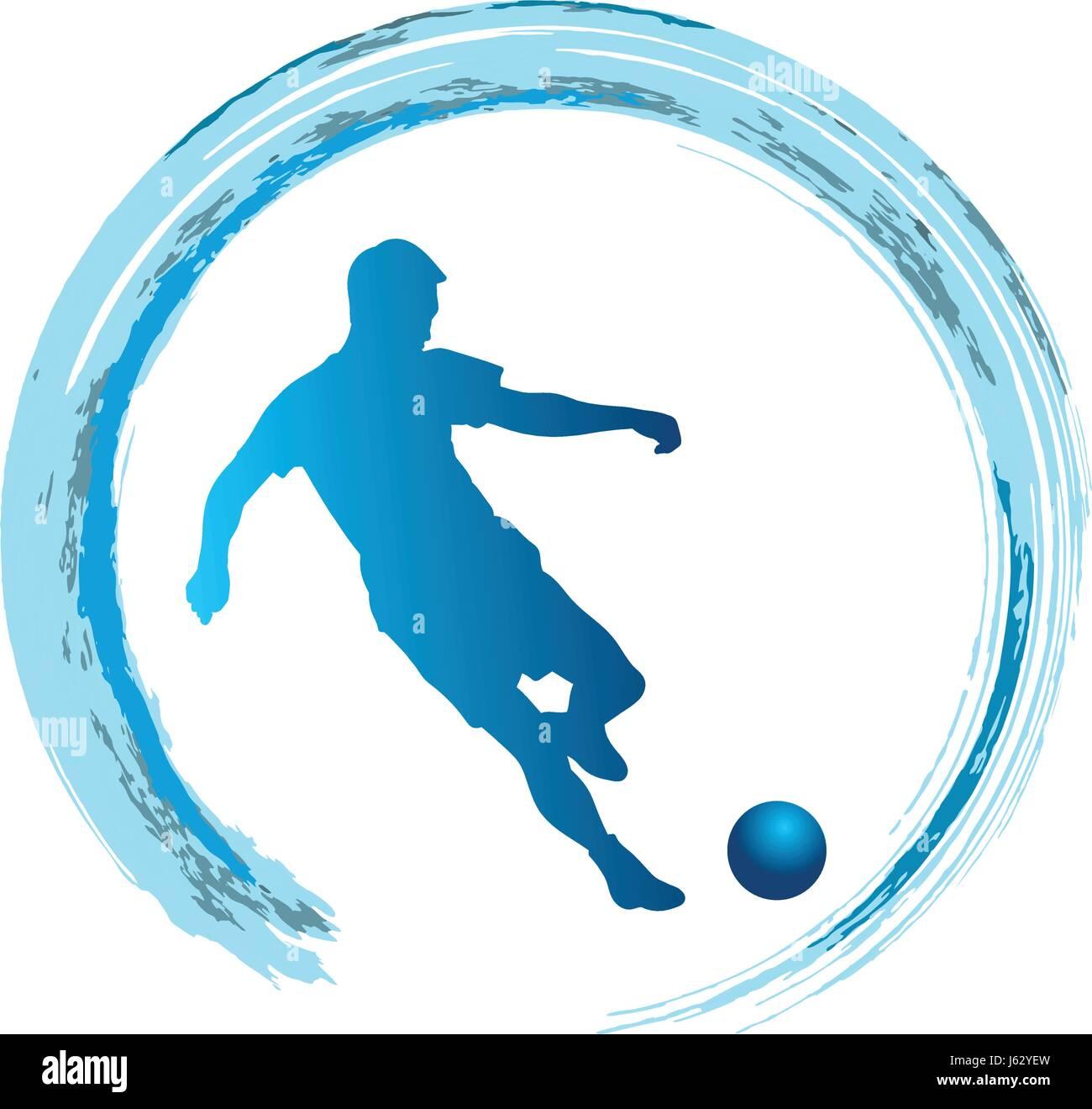 Silhouette of soccer player striking the ball - vector illustration - Stock Vector