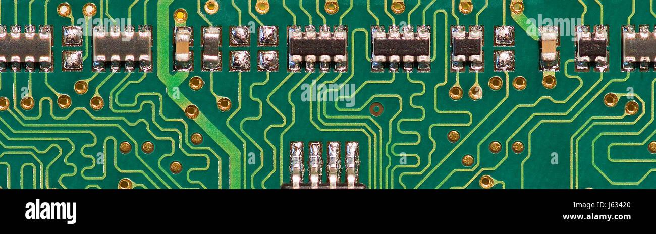 electronics engineering printed circuit board chip virtual memory memory ram Stock Photo