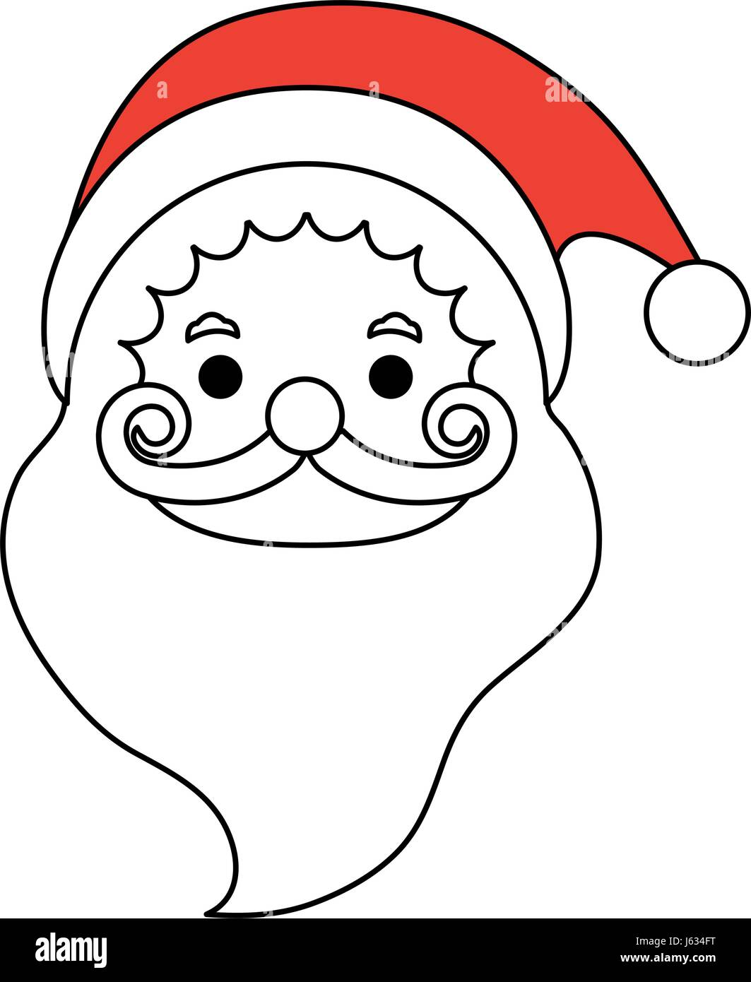 color silhouette image cartoon front view face santa claus stock