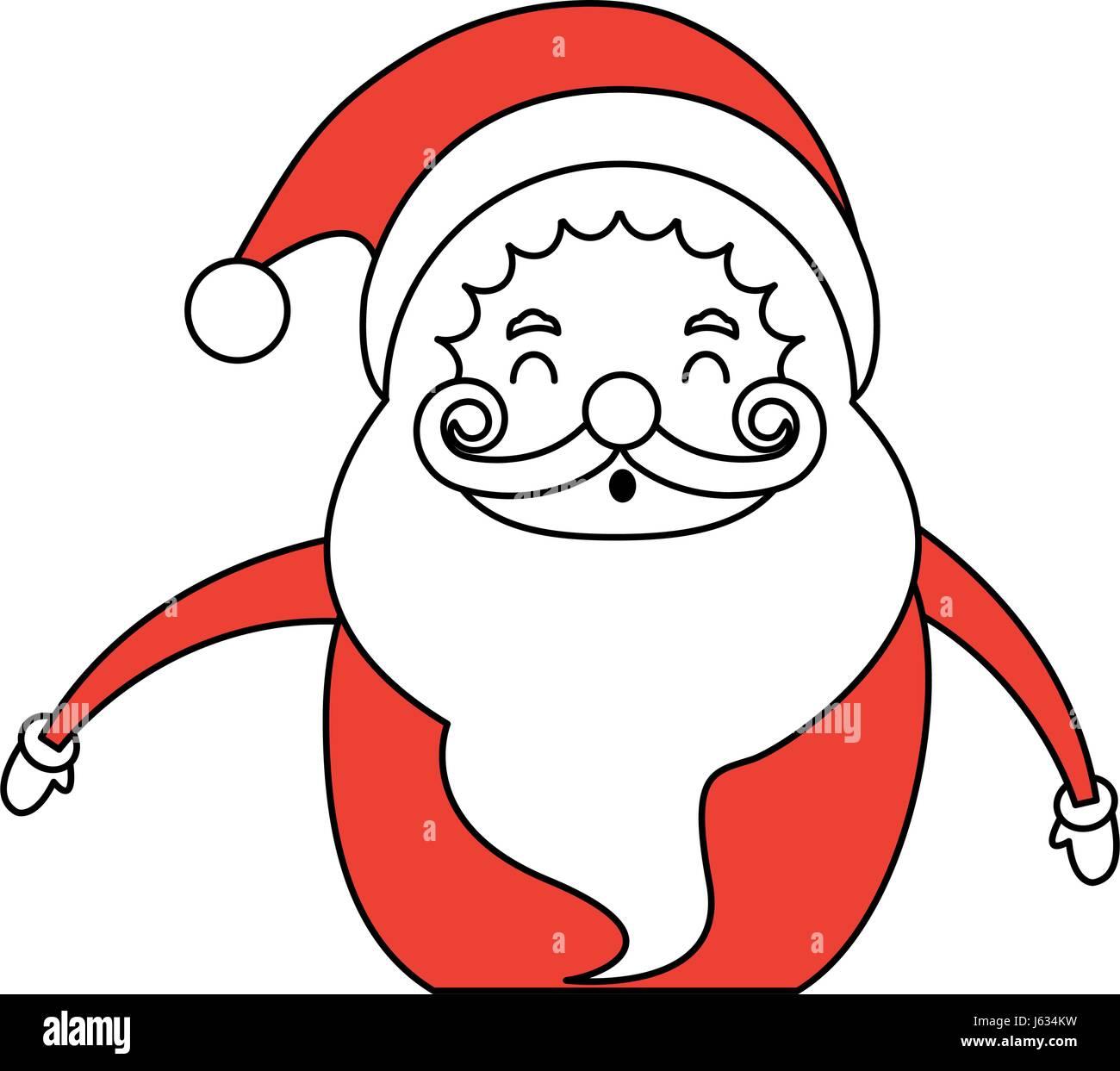 color silhouette image cartoon half body fat santa claus smiling - Pictures Of Santa Claus To Color