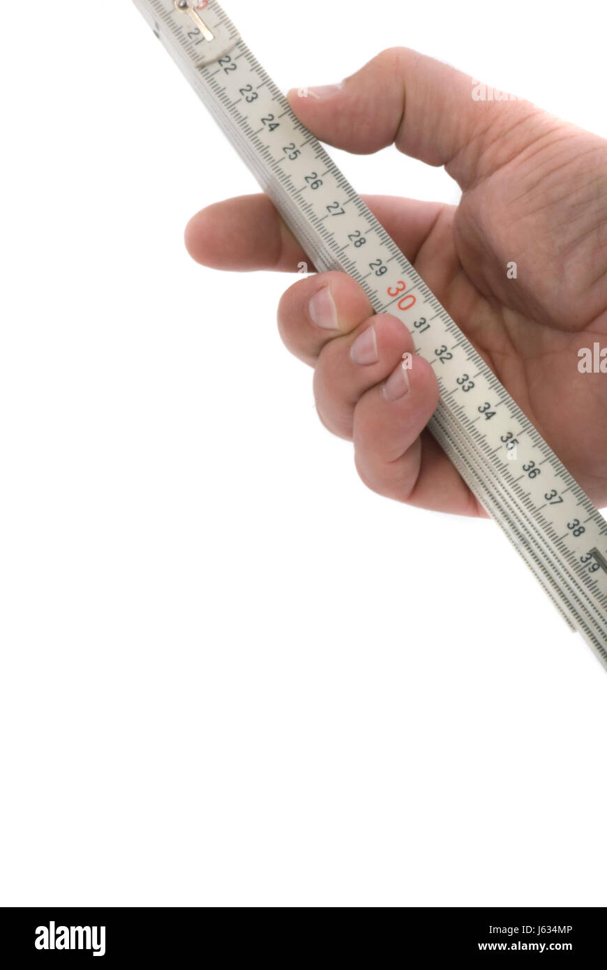 hand hold yardstick centimeter scale isolated optional symbolic advent measured - Stock Image