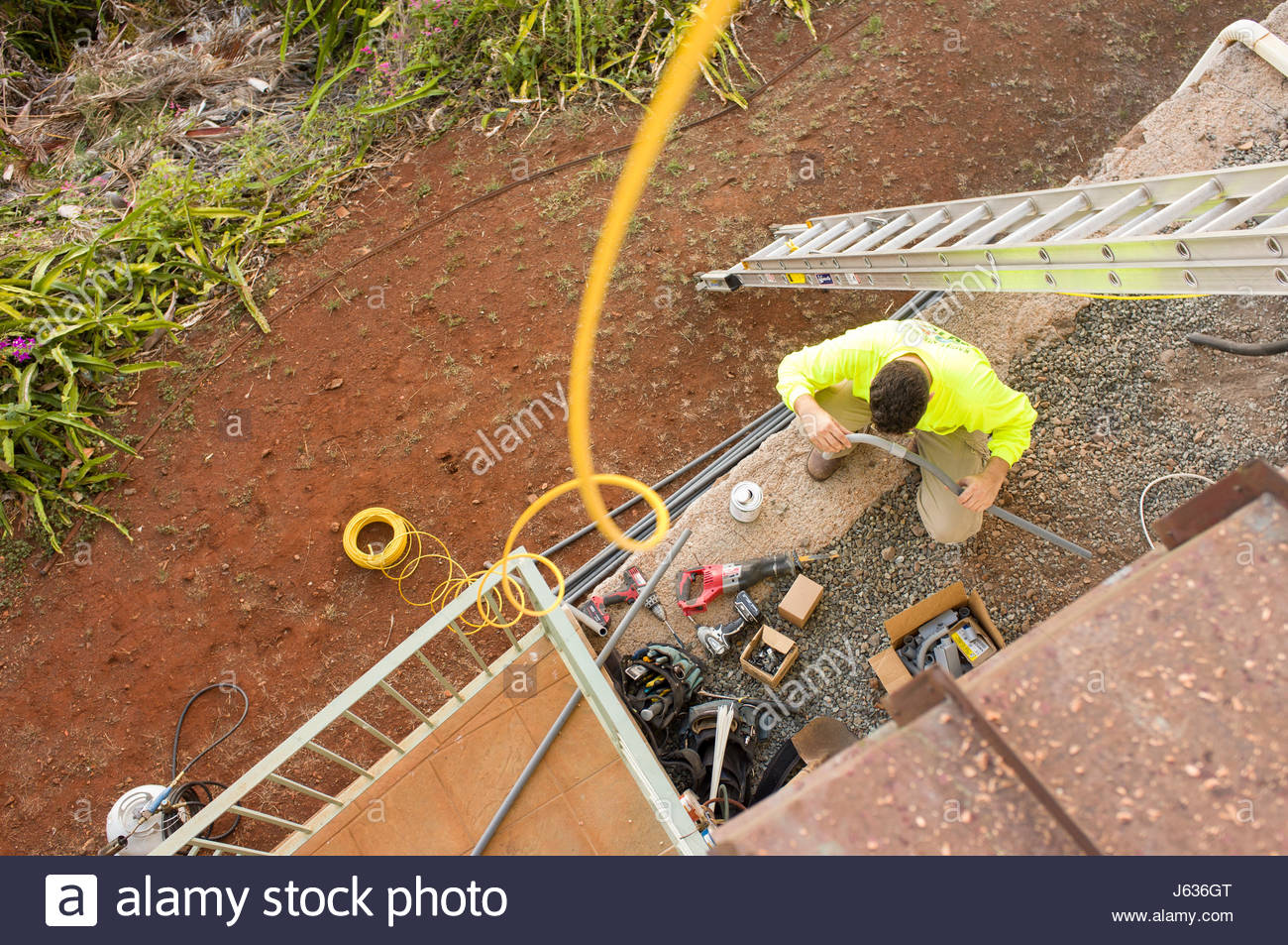Wire Conduit Stock Photos Images Alamy Surface Wiring Electrician Constructing A Out Of Plastic Pvc Pipe Honolulu Oahu Hawaii