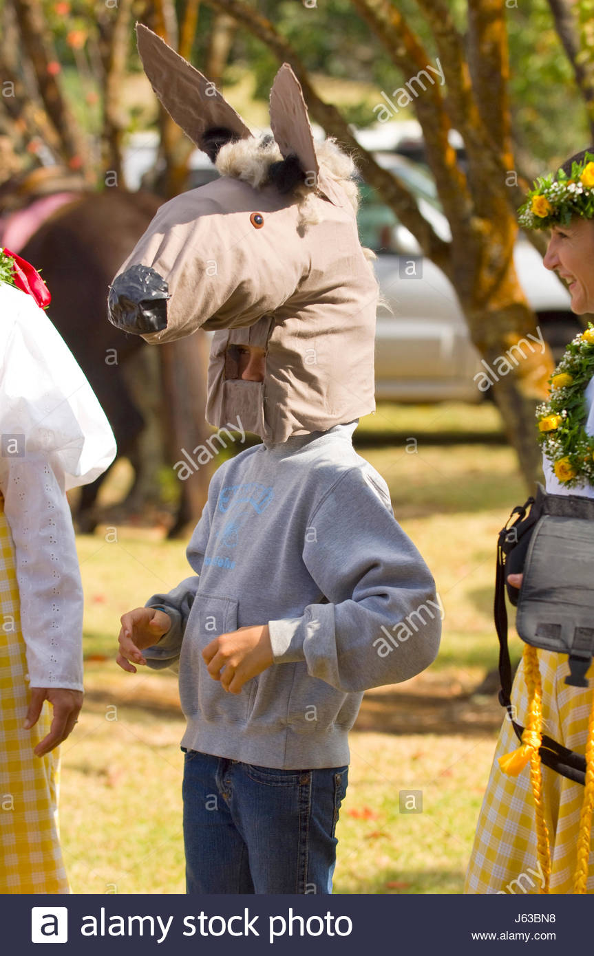 f3d30055 Young child wearing a horse head mask before the start of the 33rd Annual  Waimea Paniolo