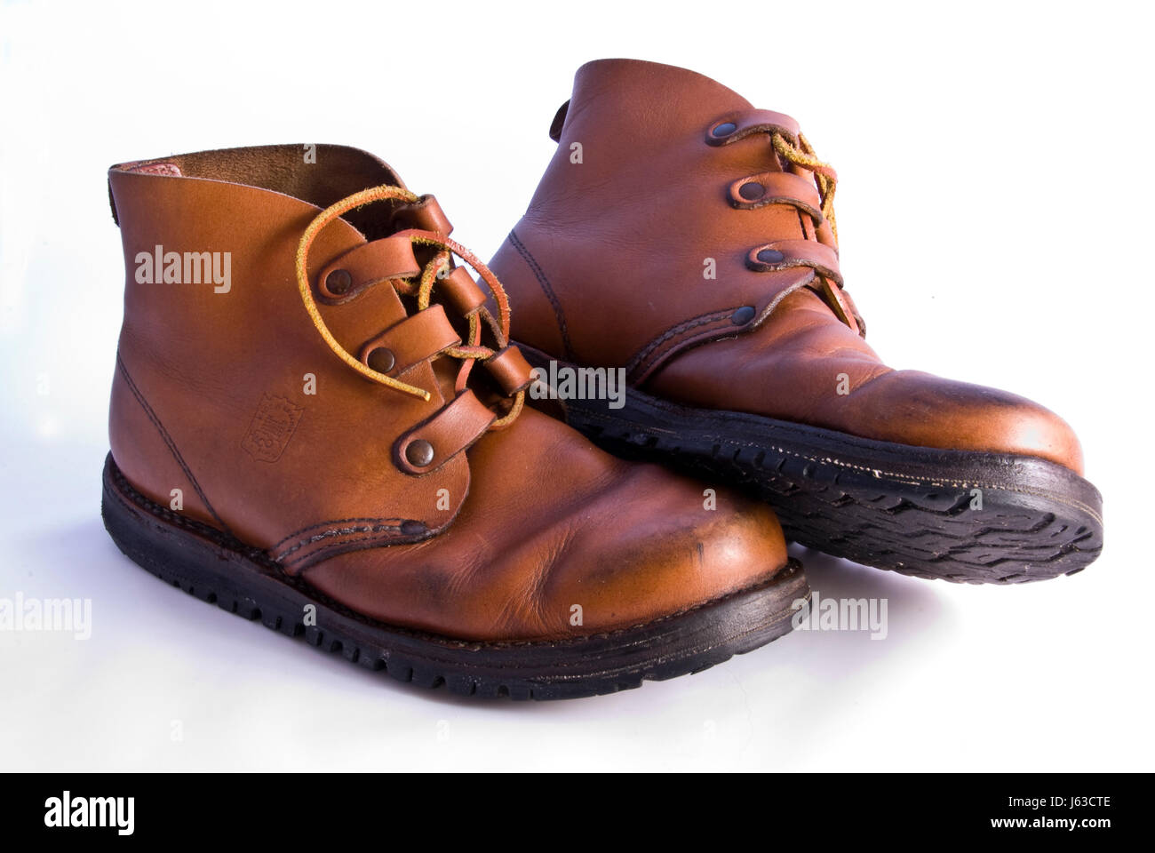 brown brownish brunette leather convenient shoe old brown brownish brunette Stock Photo