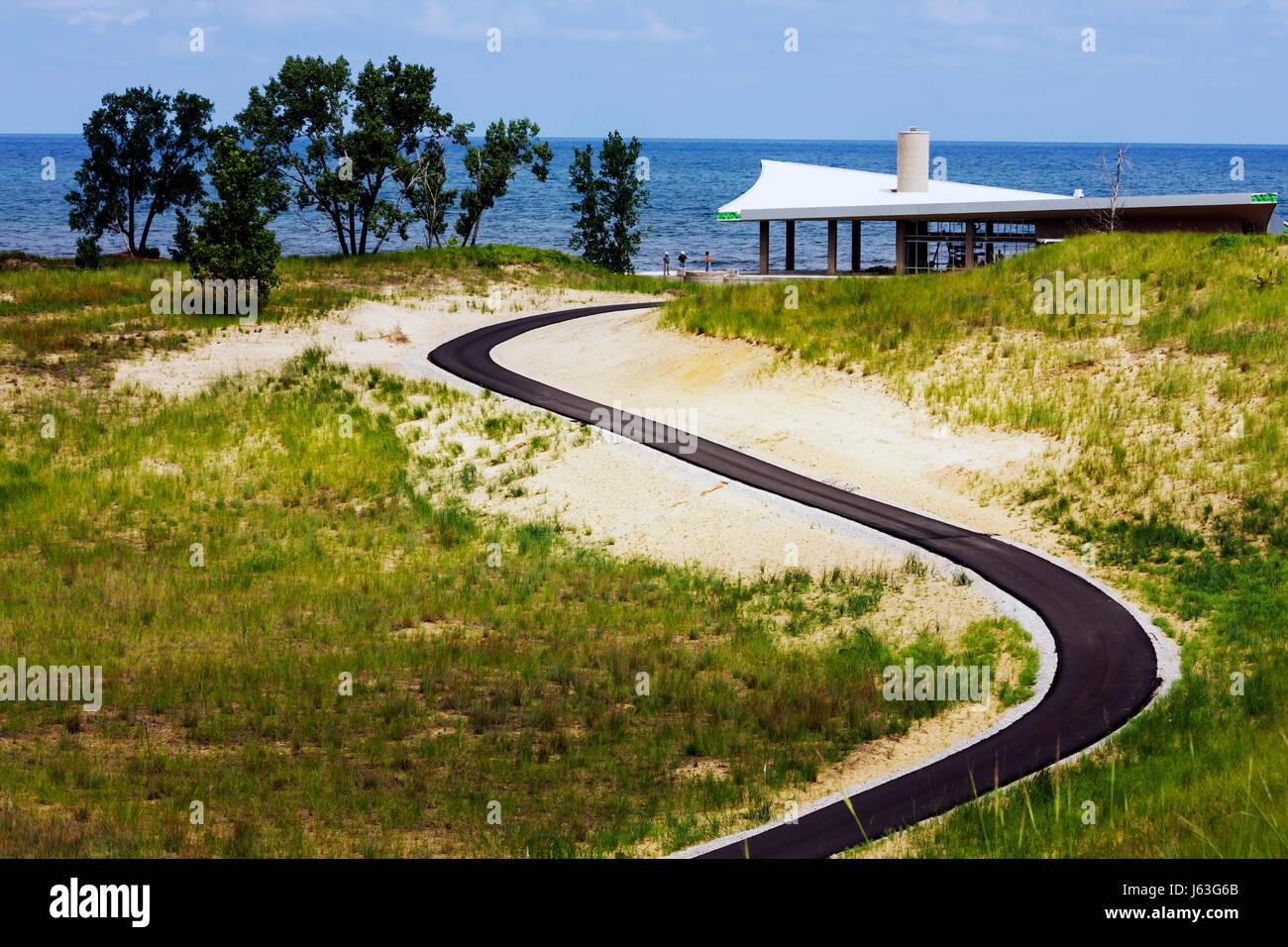 Indiana Portage Lakefront Park Lake Michigan under construction shelter water path walkway - Stock Image