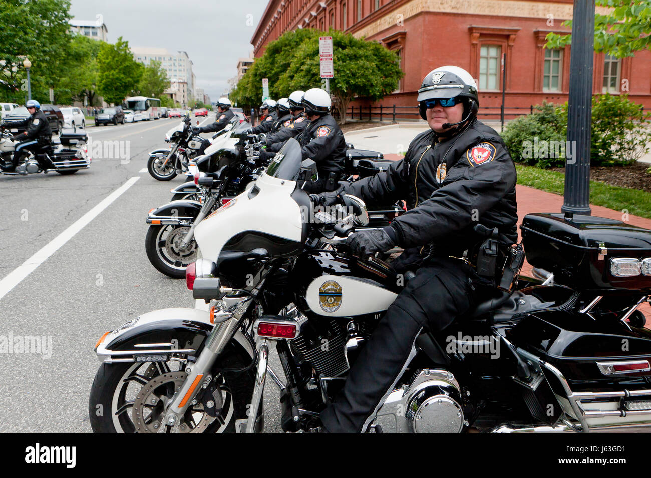 Durham, North Carolina Police Department motorcycle unit policeman sitting on motorcycle - USA - Stock Image