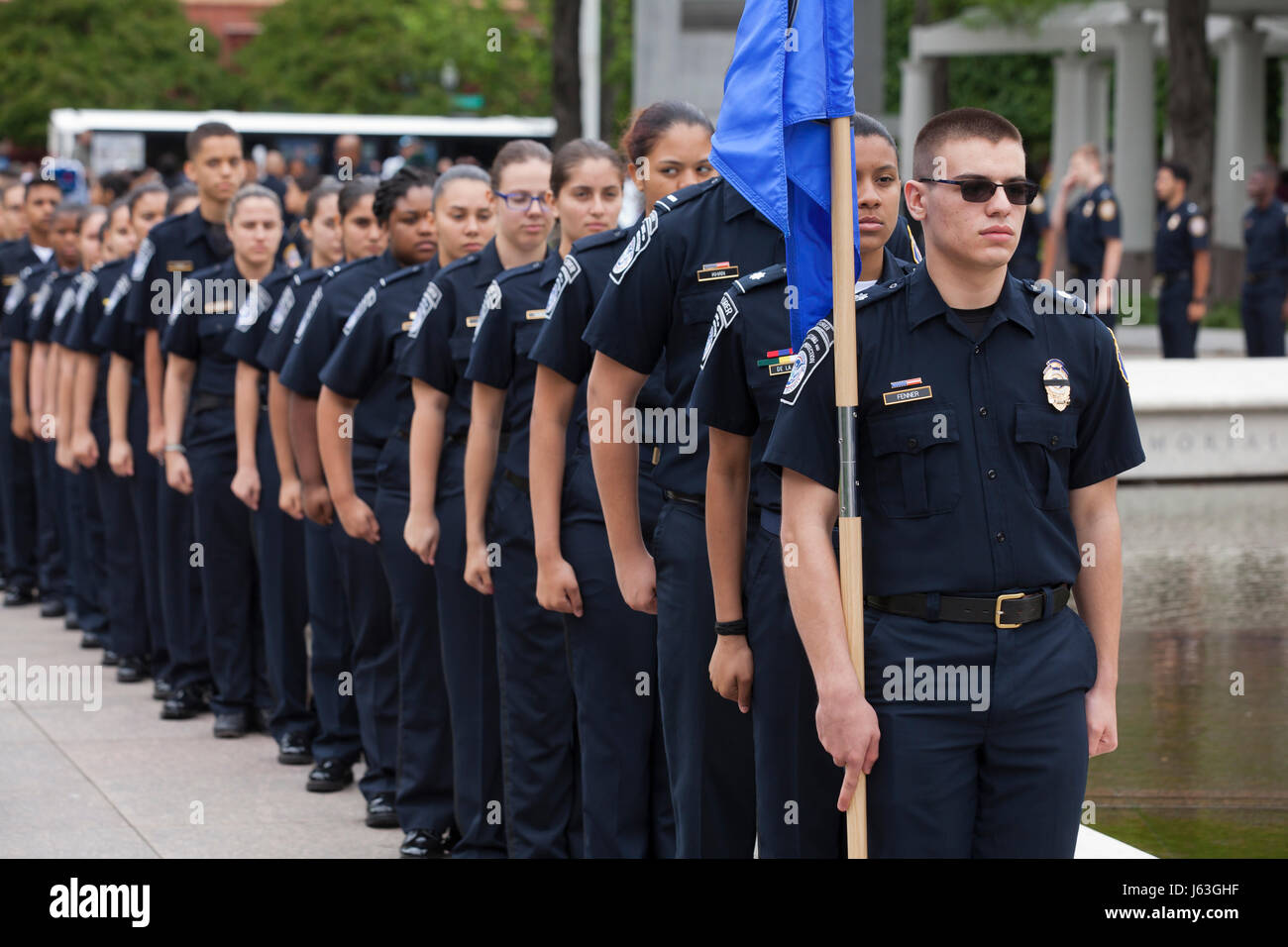 Law Enforcement Explorers (Police Explorers) pay tribute to police officers who have died in service at National - Stock Image