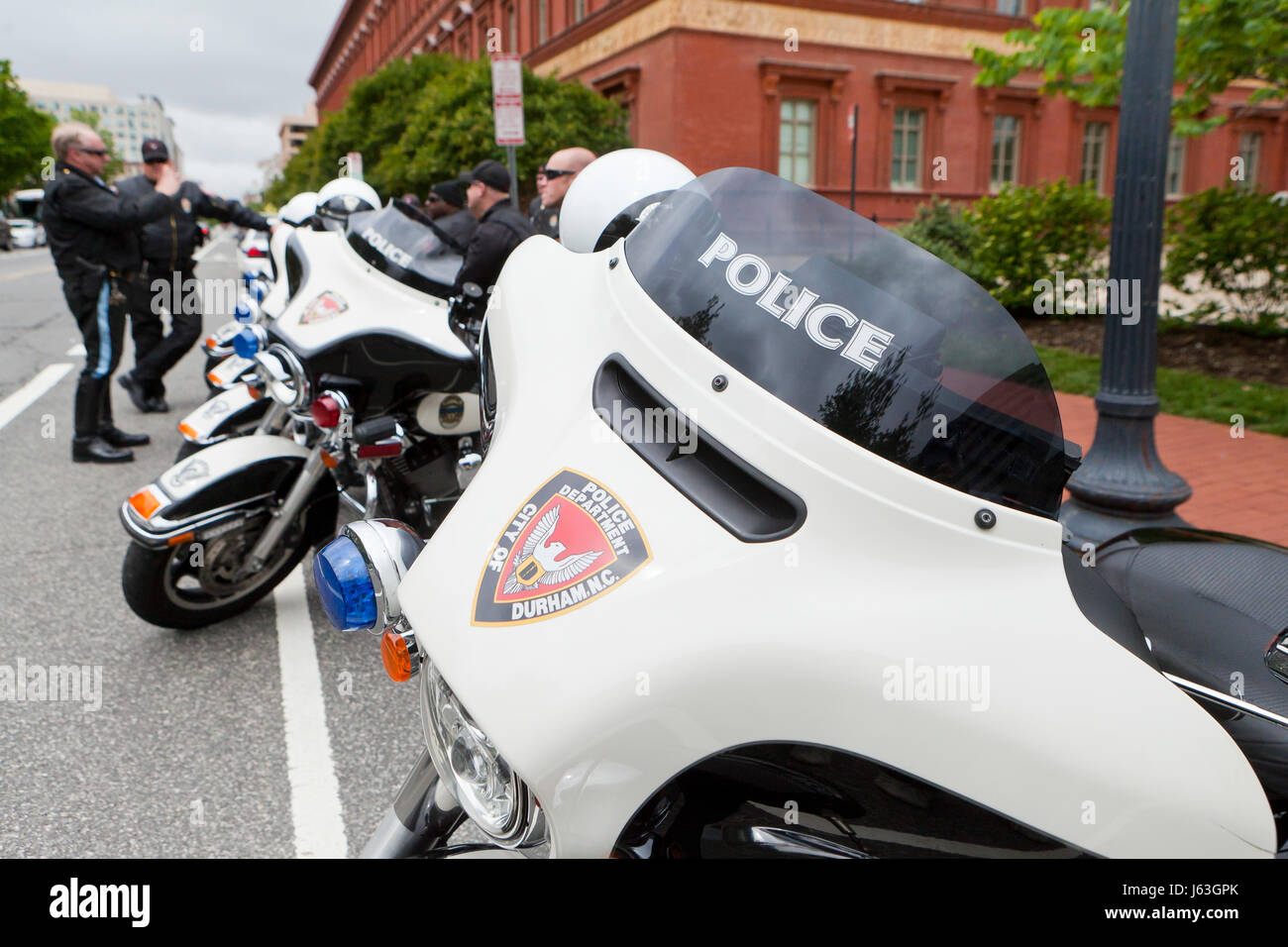 Durham, North Carolina Police Department motorcycle unit - USA - Stock Image