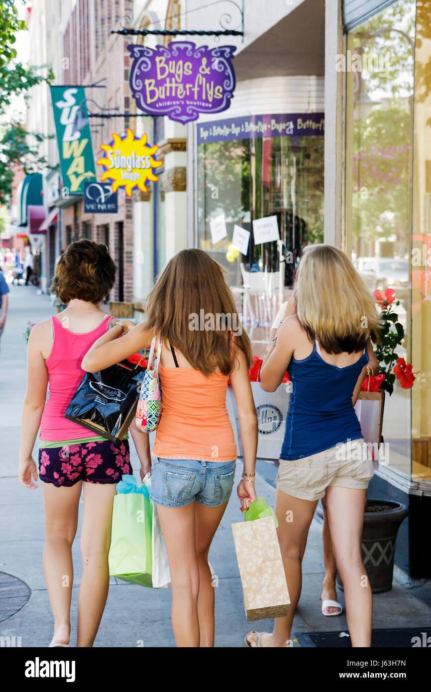 Michigan Traverse City Front Street Evergreen Gallery Three Girls Teen Shorts Window Shop Storefront Business Stroll Friends Bag