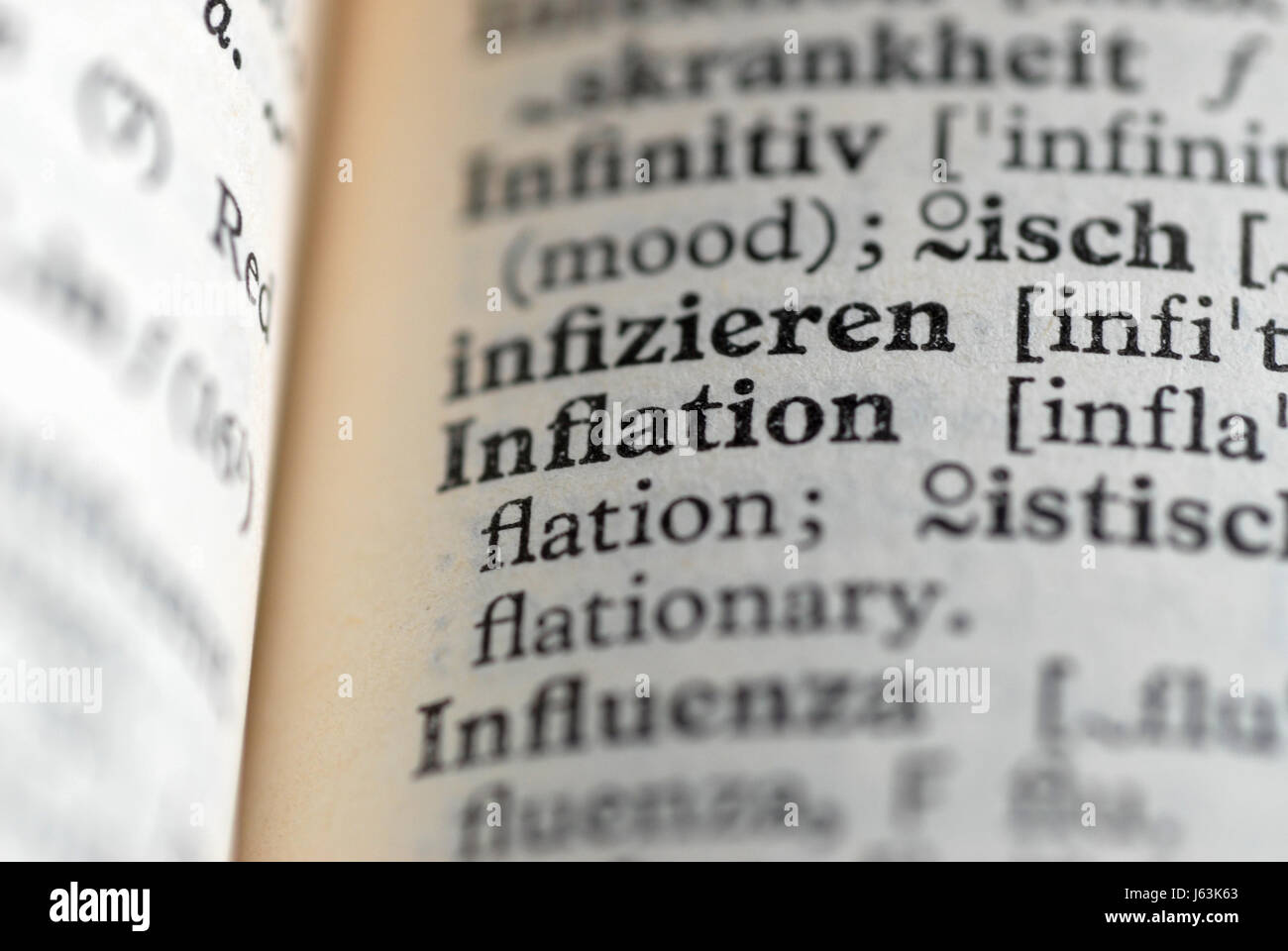 encyclopaedia entries inflation - Stock Image