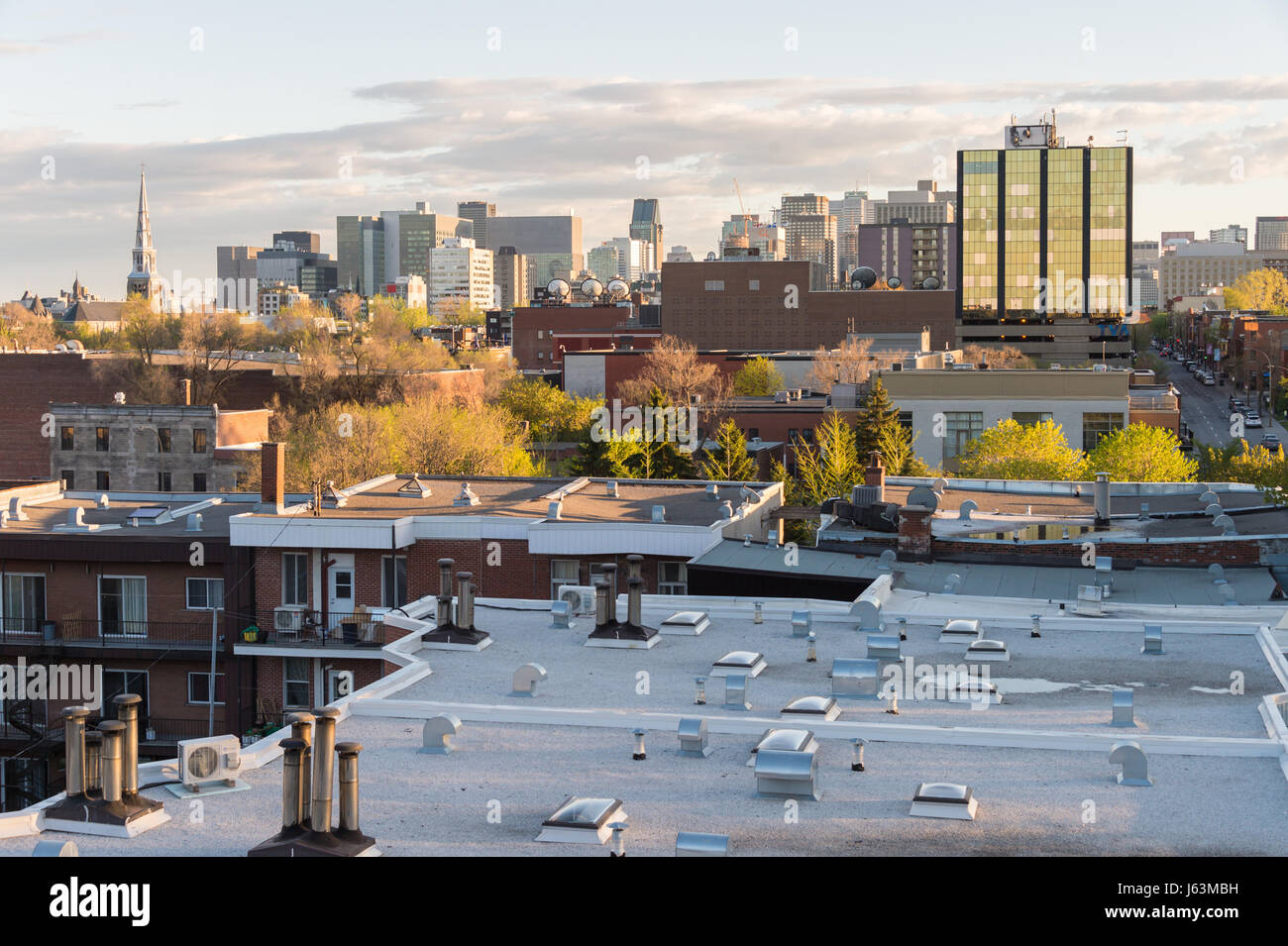 Montreal, CA - 15 May 2017: Montreal Skyline from Jacques-Cartier Bridge Stock Photo