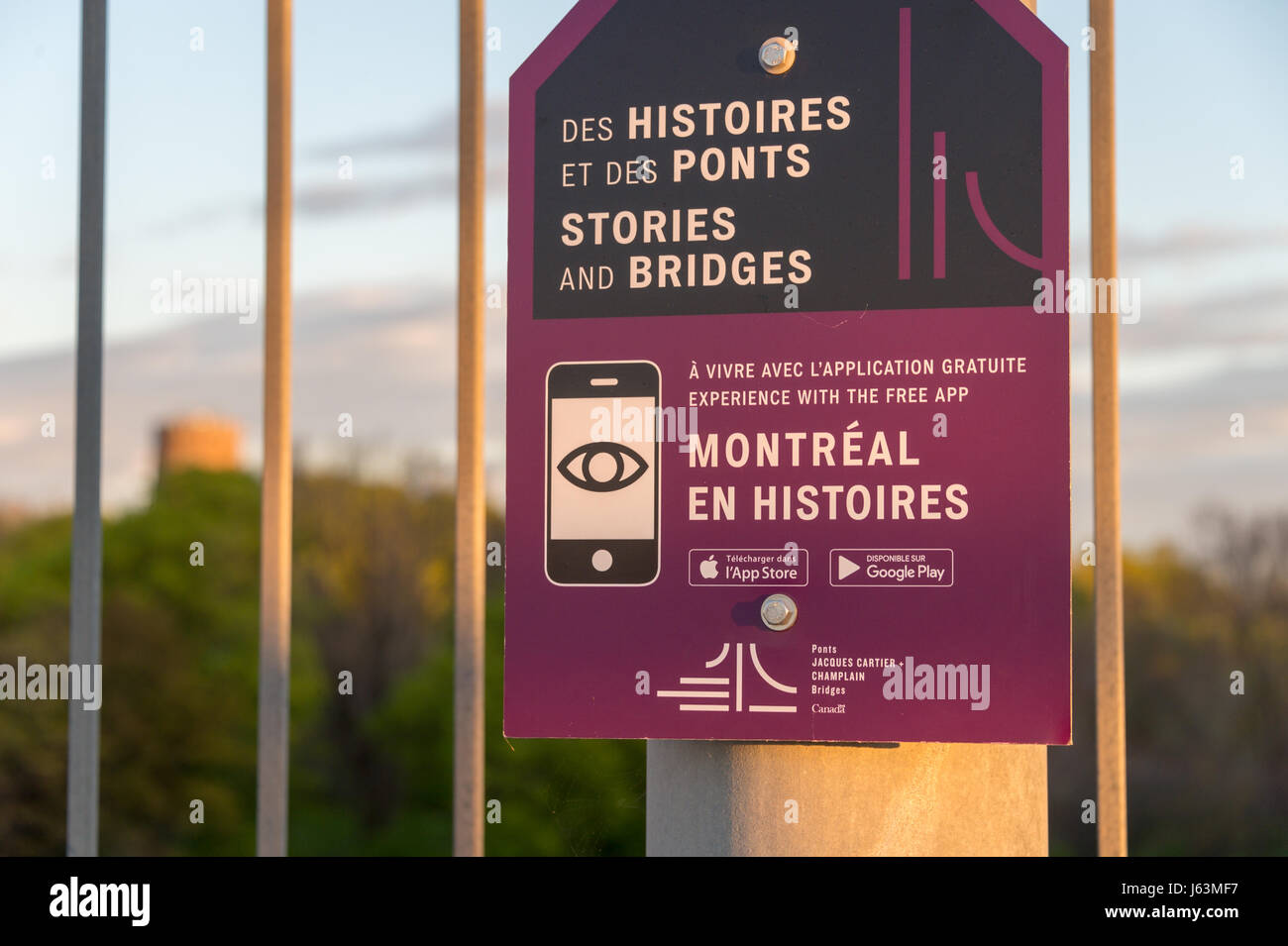 'Montreal en Histoires' point of interest on Jacques Cartier Bridge. 'Montreal en Histoires' is - Stock Image