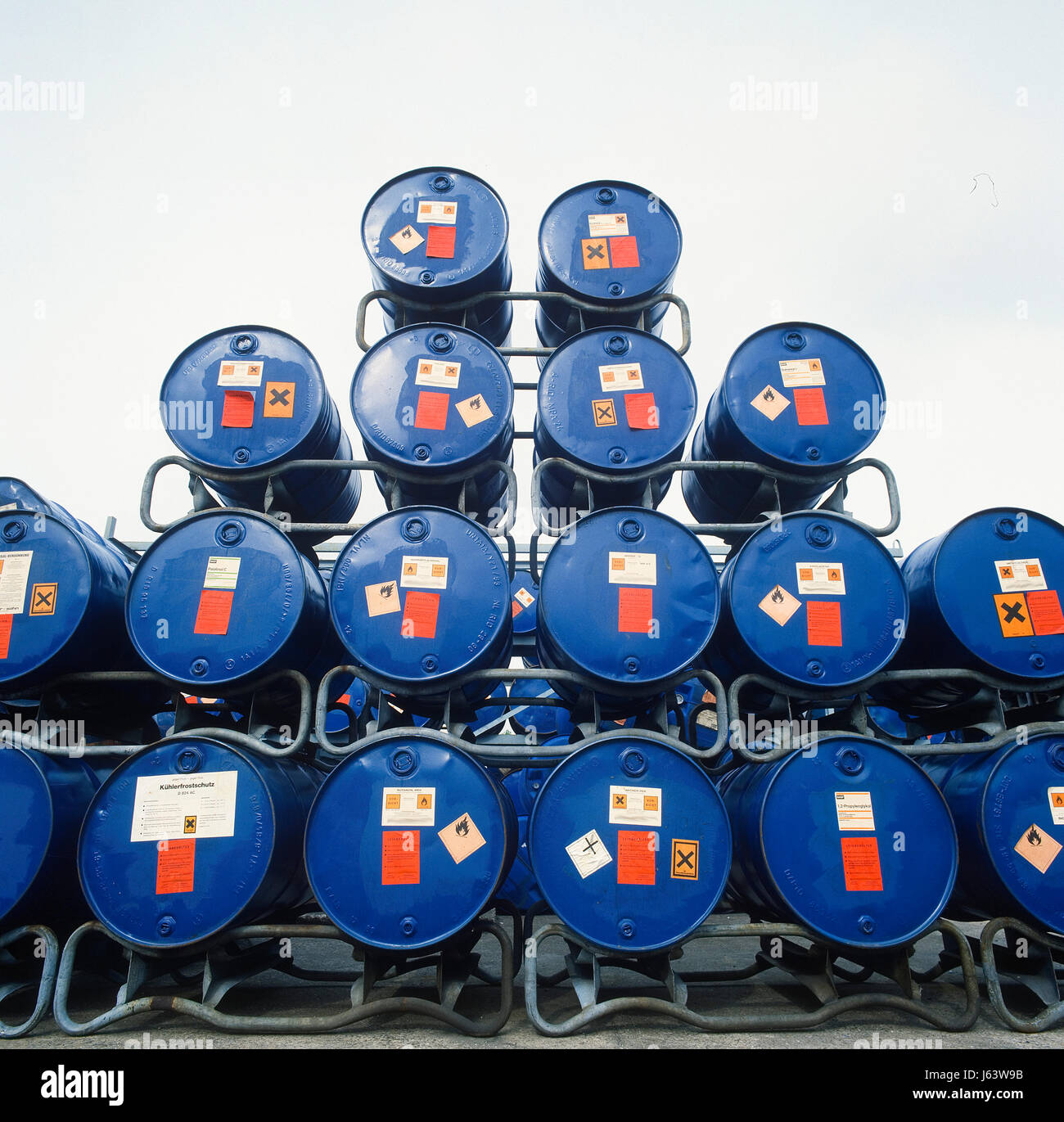 transport diesel tank chemistry storage dyer staint pigment blue environment Stock Photo