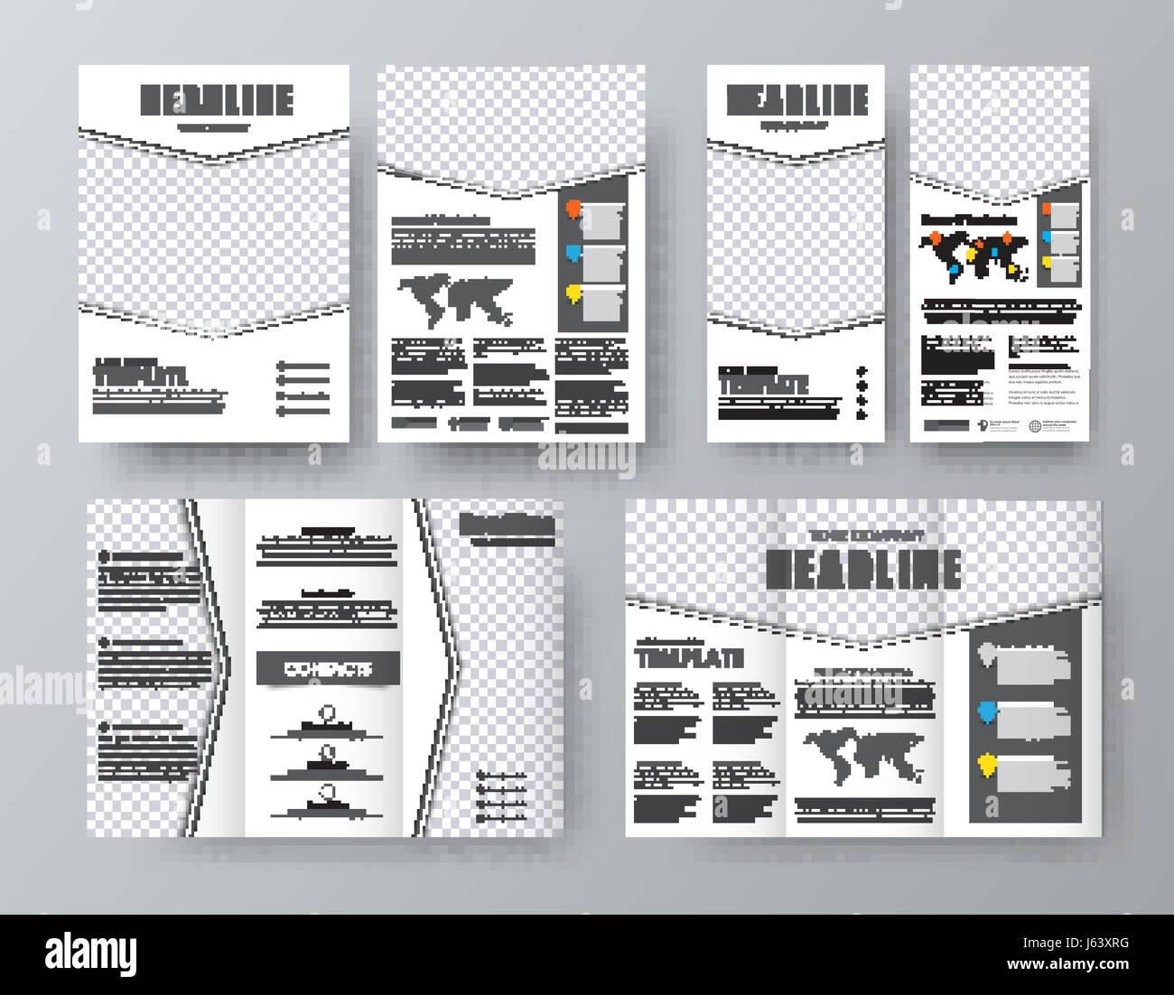 design triple brochure flyer format a4 and a narrow banner with an
