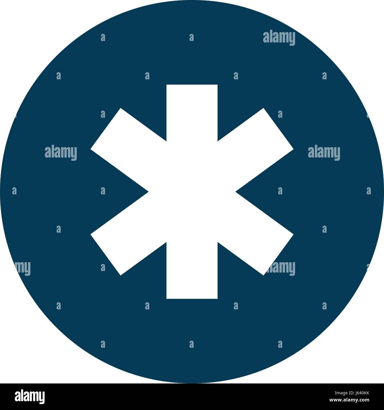 medical cross caduceus icon - Stock Image