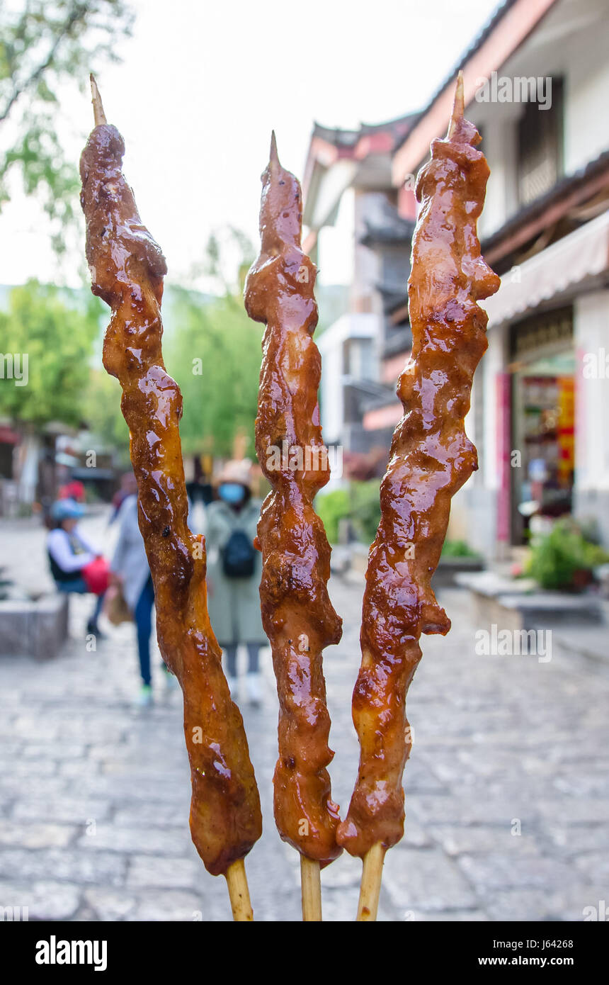 Lamb kebab selling in Shuhe Ancient Town,Lijiang Yunnan. - Stock Image