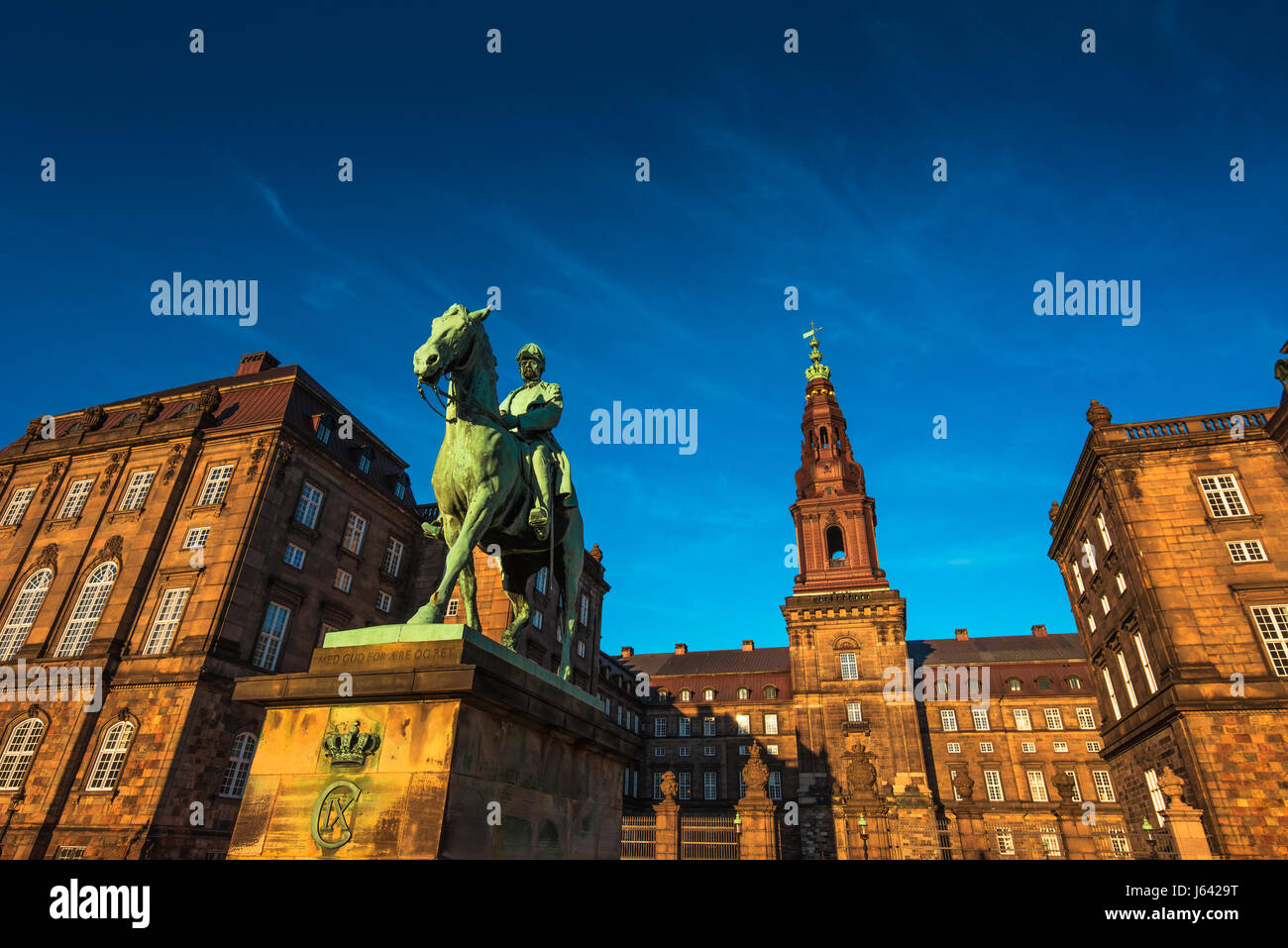 Equestrian statue of King Christian the 9th Copenhagen Denmark Inside the Danish Parliament Christiansborg palace - Stock Image