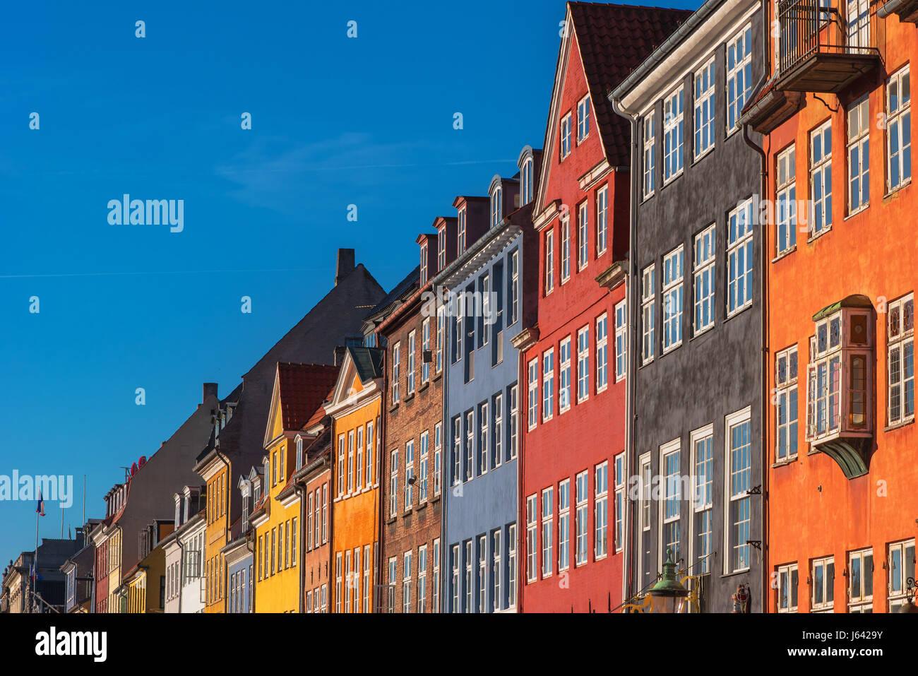 Colorful facades of Copenhagen Nyhavn district, Denmark Europe - Stock Image