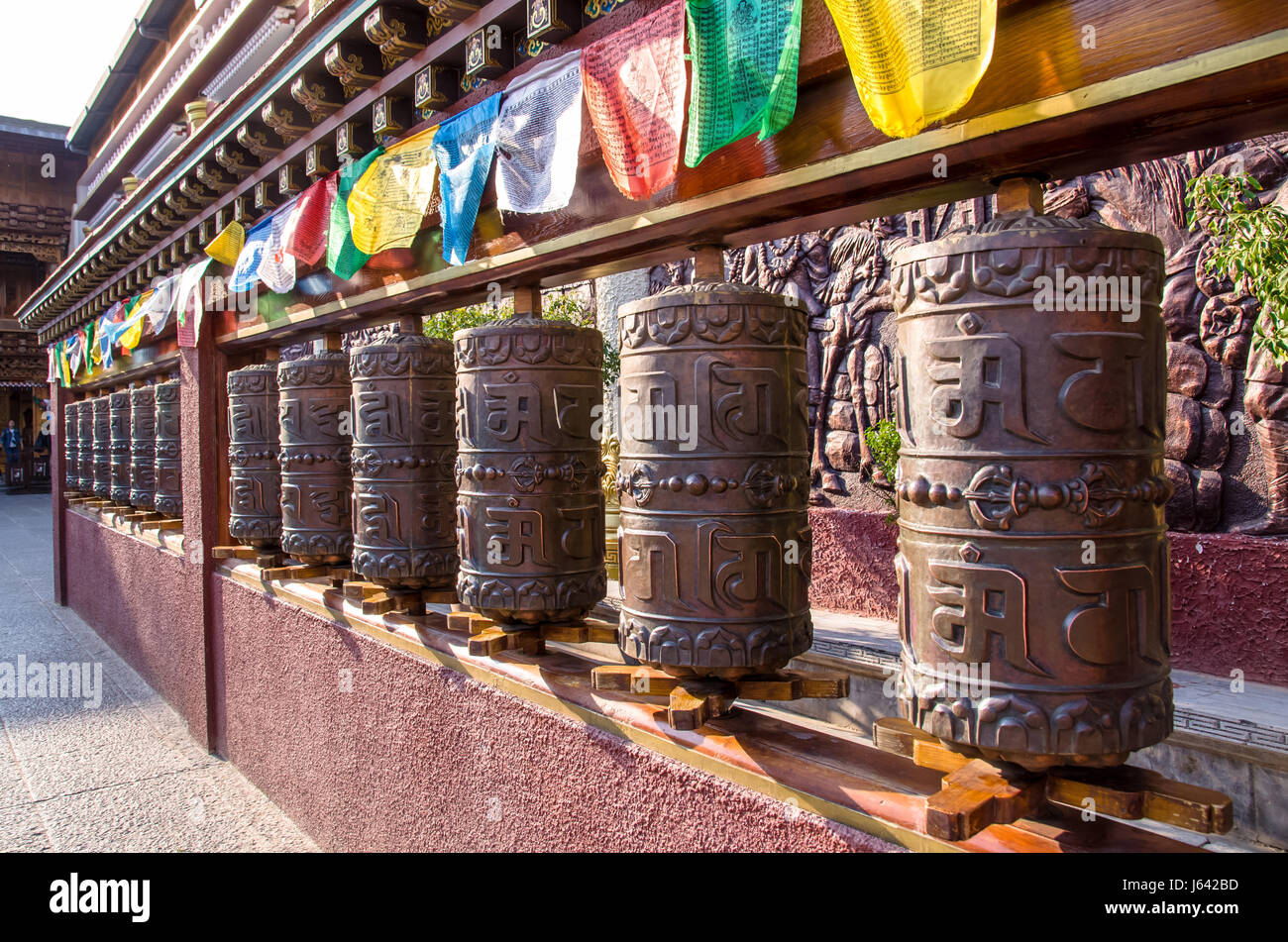 Lijiang,Yunnan - April 13,2017 : Prayer wheels in tibetan temple in Shuhe Ancient Town. - Stock Image