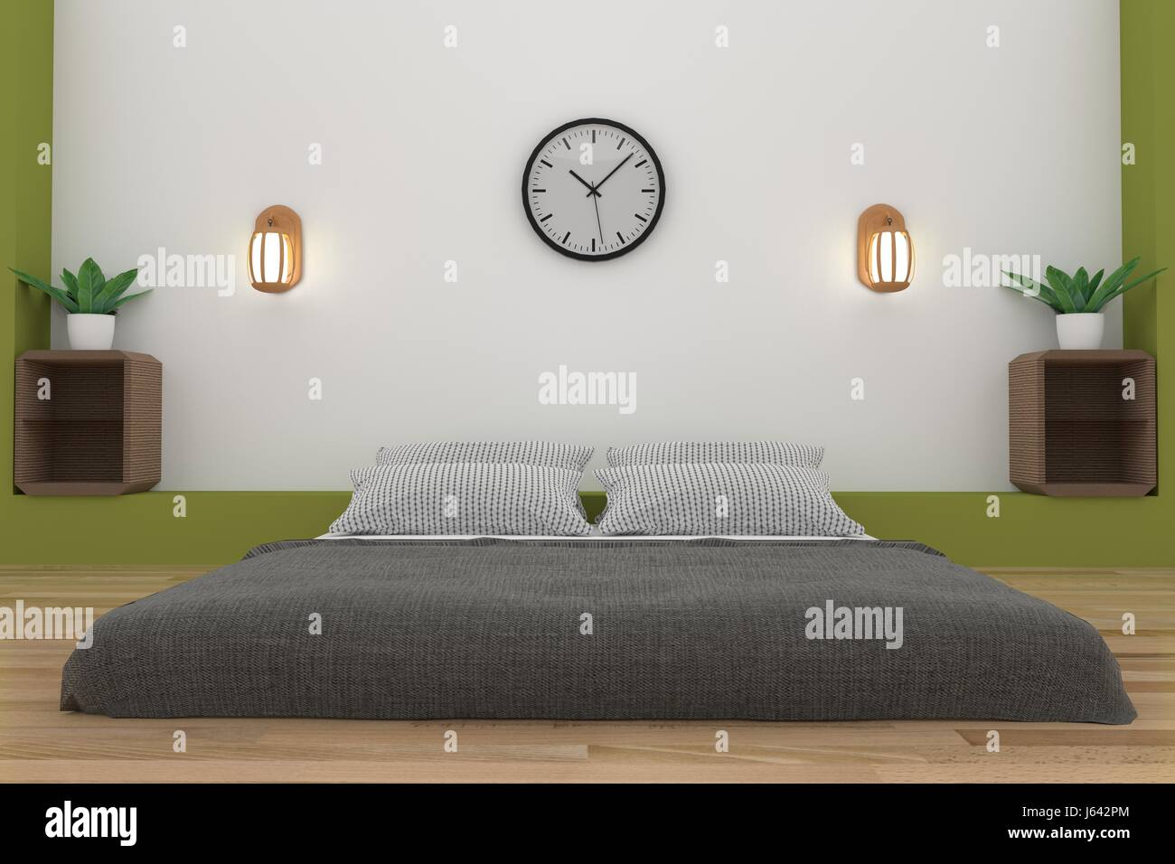 minimalist bedroom in white and green room design in 3D ...