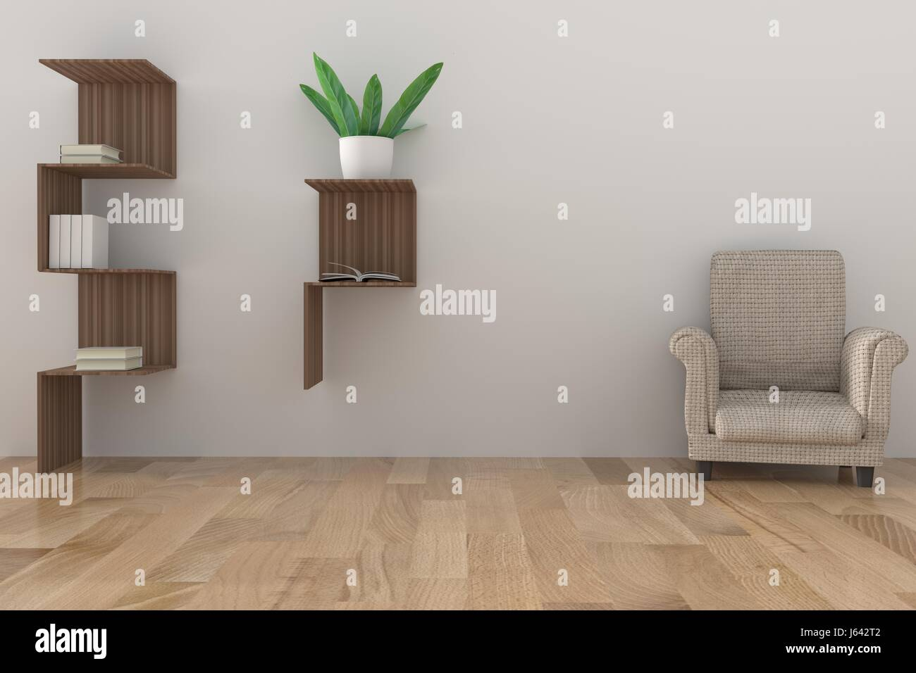 Minimalist Bookshelf With Light Lamp And Houseplant In Empty Room Design 3D Rendering