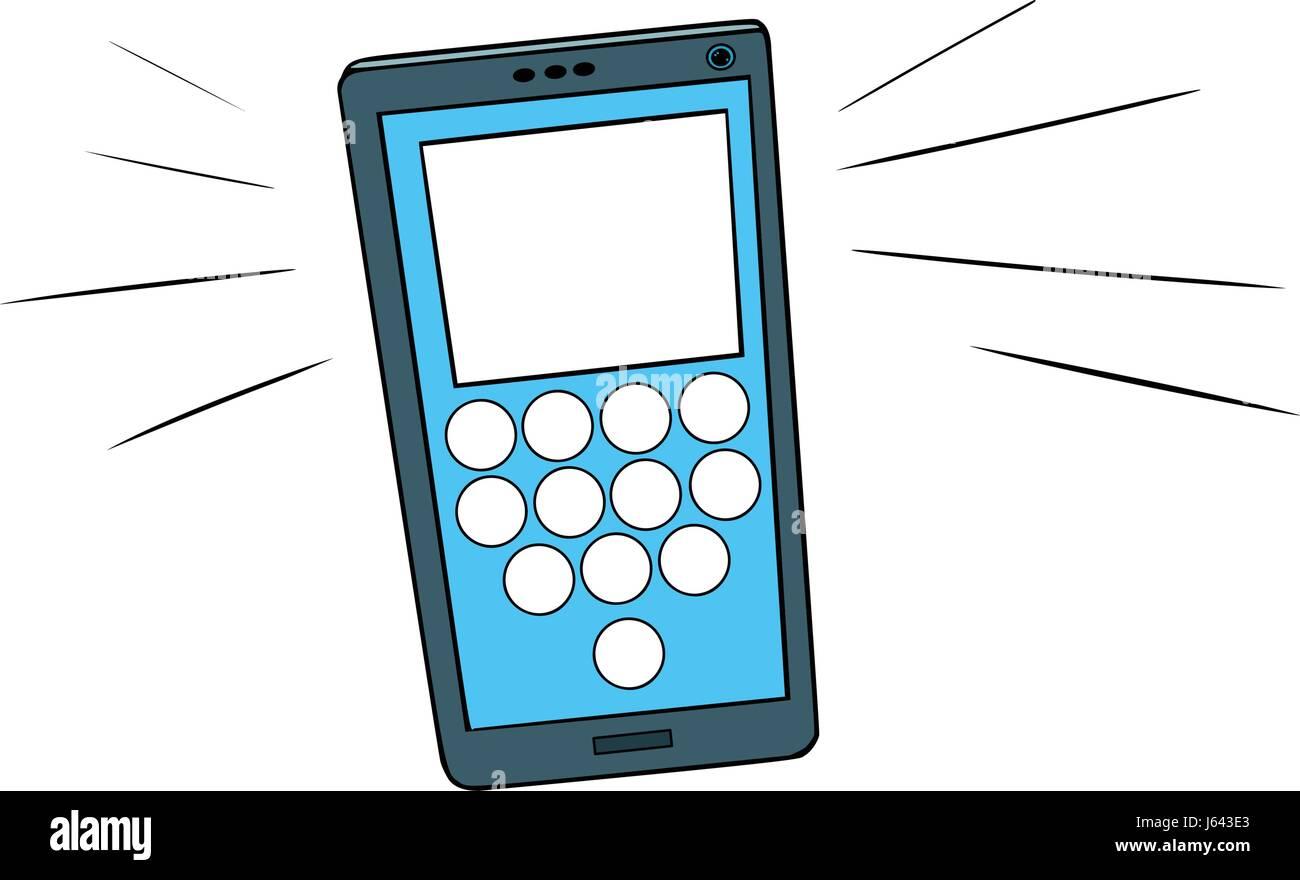 Smartphone calls, touch screen. Comic book cartoon pop art retro color vector illustration hand drawn Stock Vector