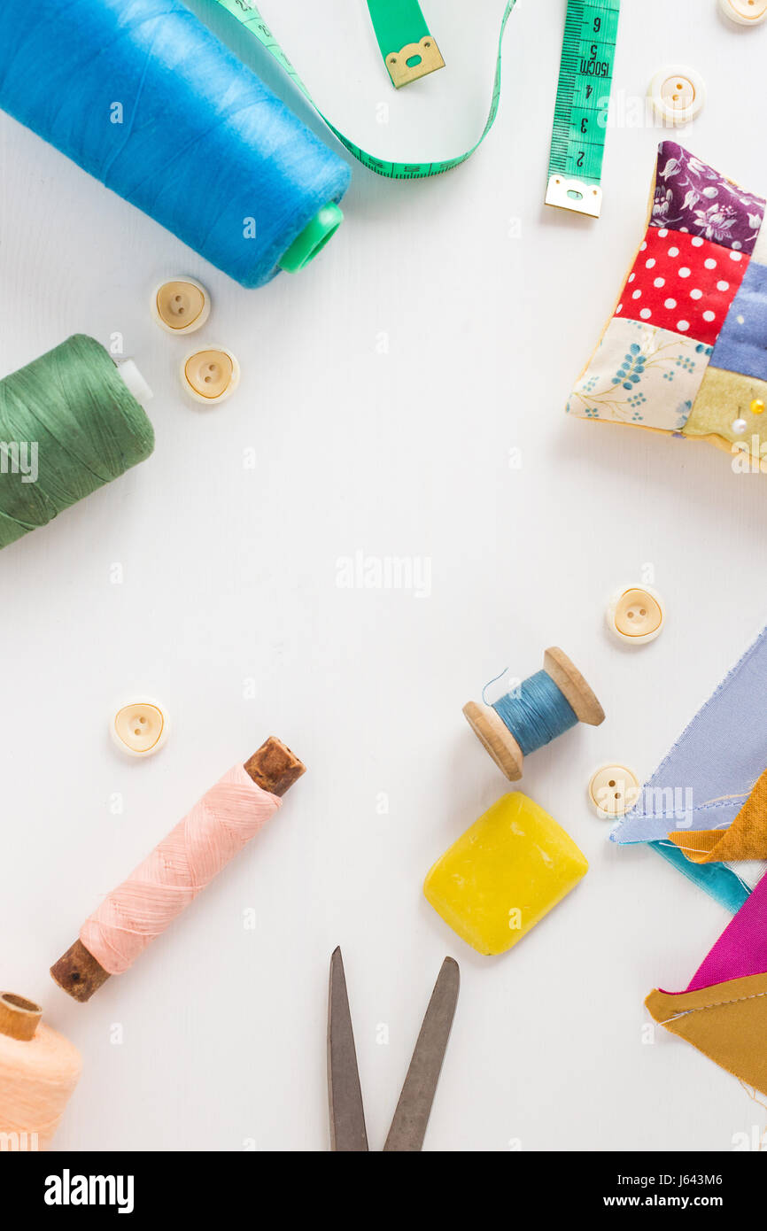 Sewing Tools Patchwork Tailoring And Fashion Concept Closeup On Stock Photo Alamy
