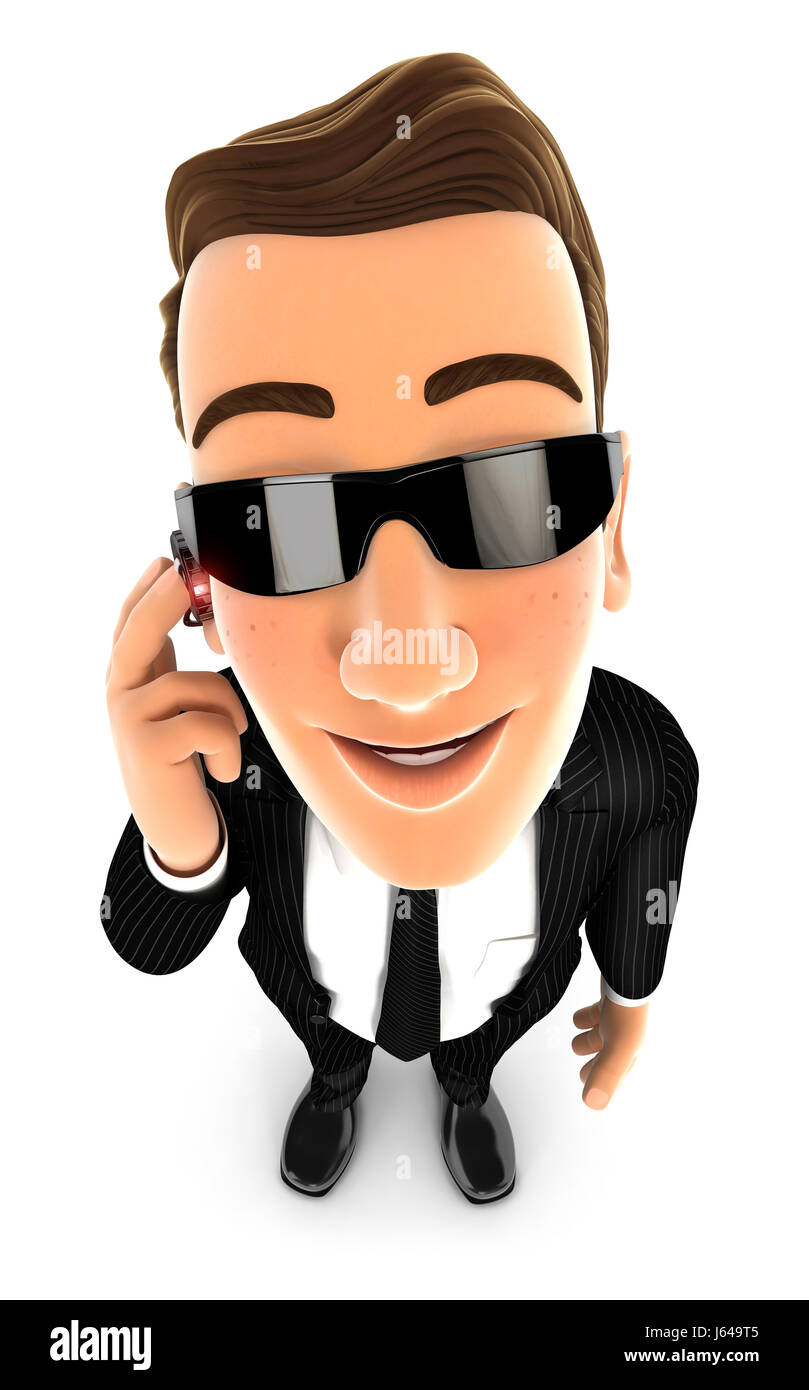 3d security agent standing and looking up at camera, illustration with isolated white background Stock Photo