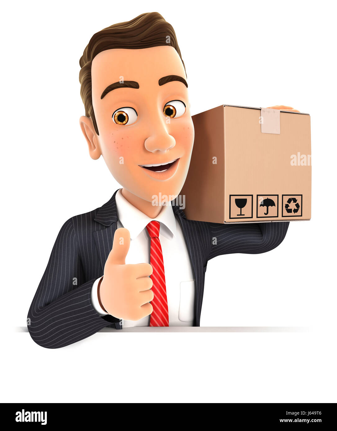 3d businessman carrying package with thumb up, illustration with isolated white background Stock Photo