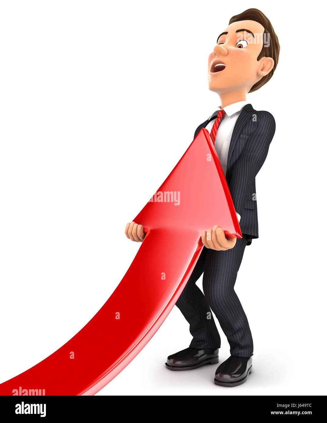 3d businessman lifting up red arrow, illustration with isolated white background Stock Photo
