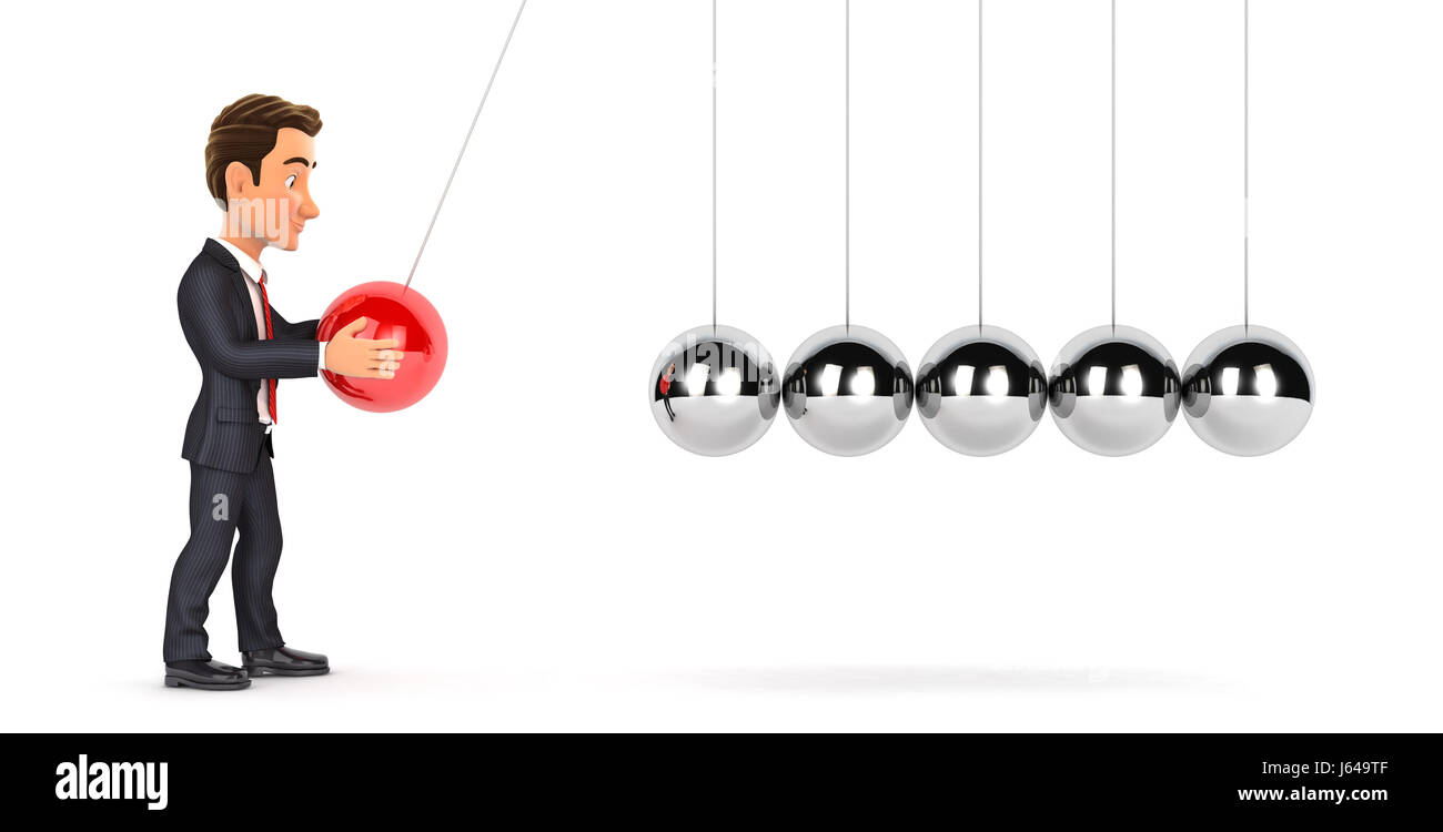 3d businessman playing with newton cradle, illustration with isolated white background Stock Photo