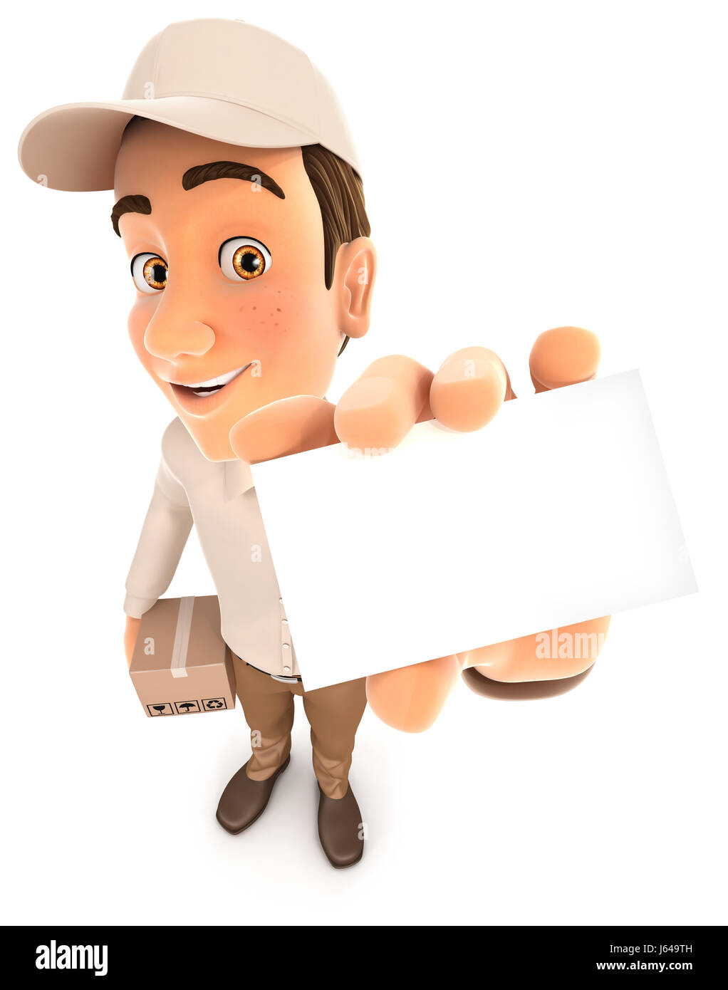 3d delivery man holding company card, illustration with isolated white background Stock Photo