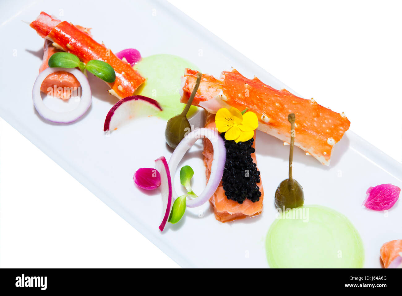 On the Modern Seafood, Trespasser seafood ingredient lobster claw and fish for salmon cells. - Stock Image
