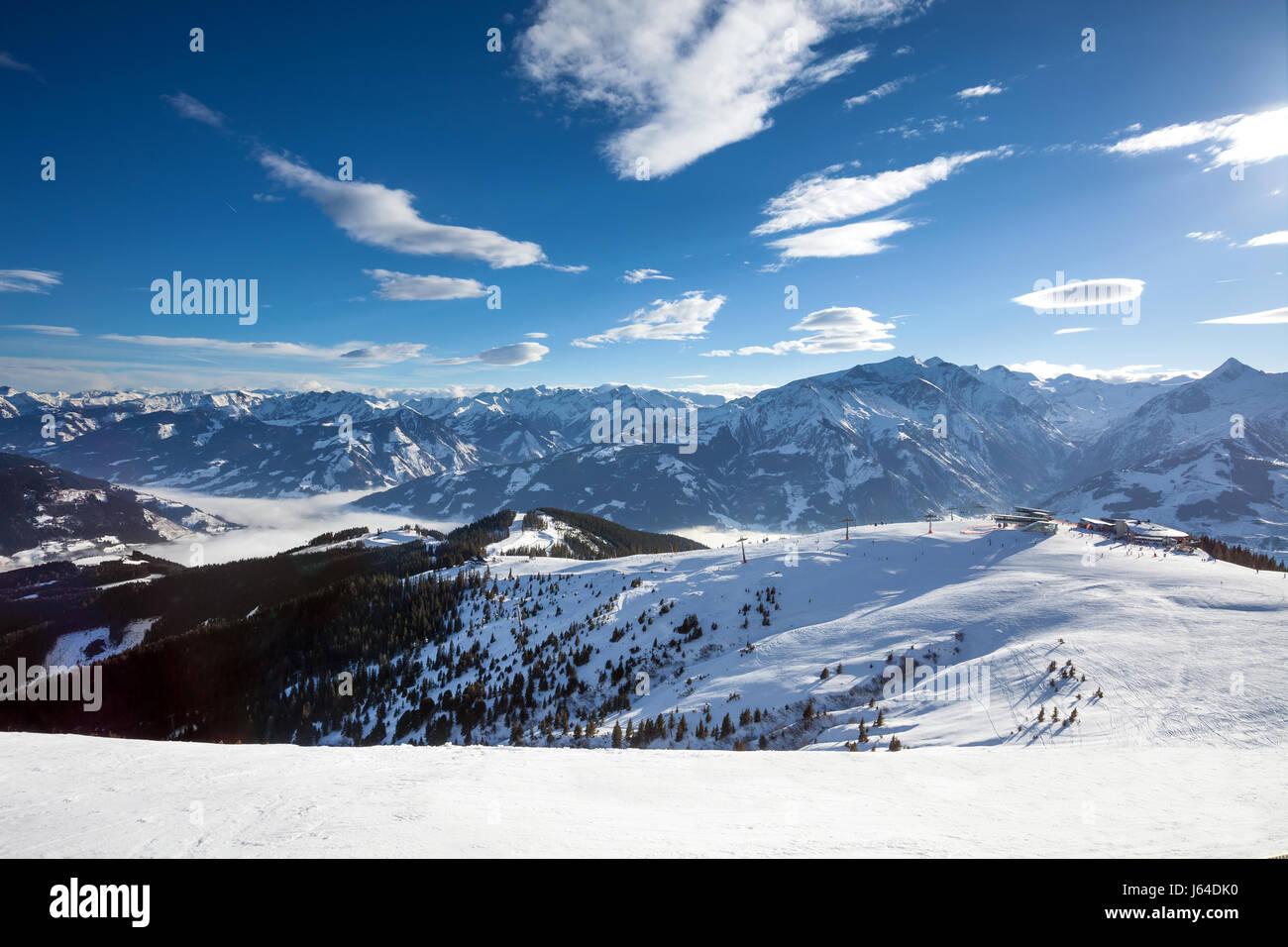 Schmitten winter ski slopes of Zell am See resort Stock Photo