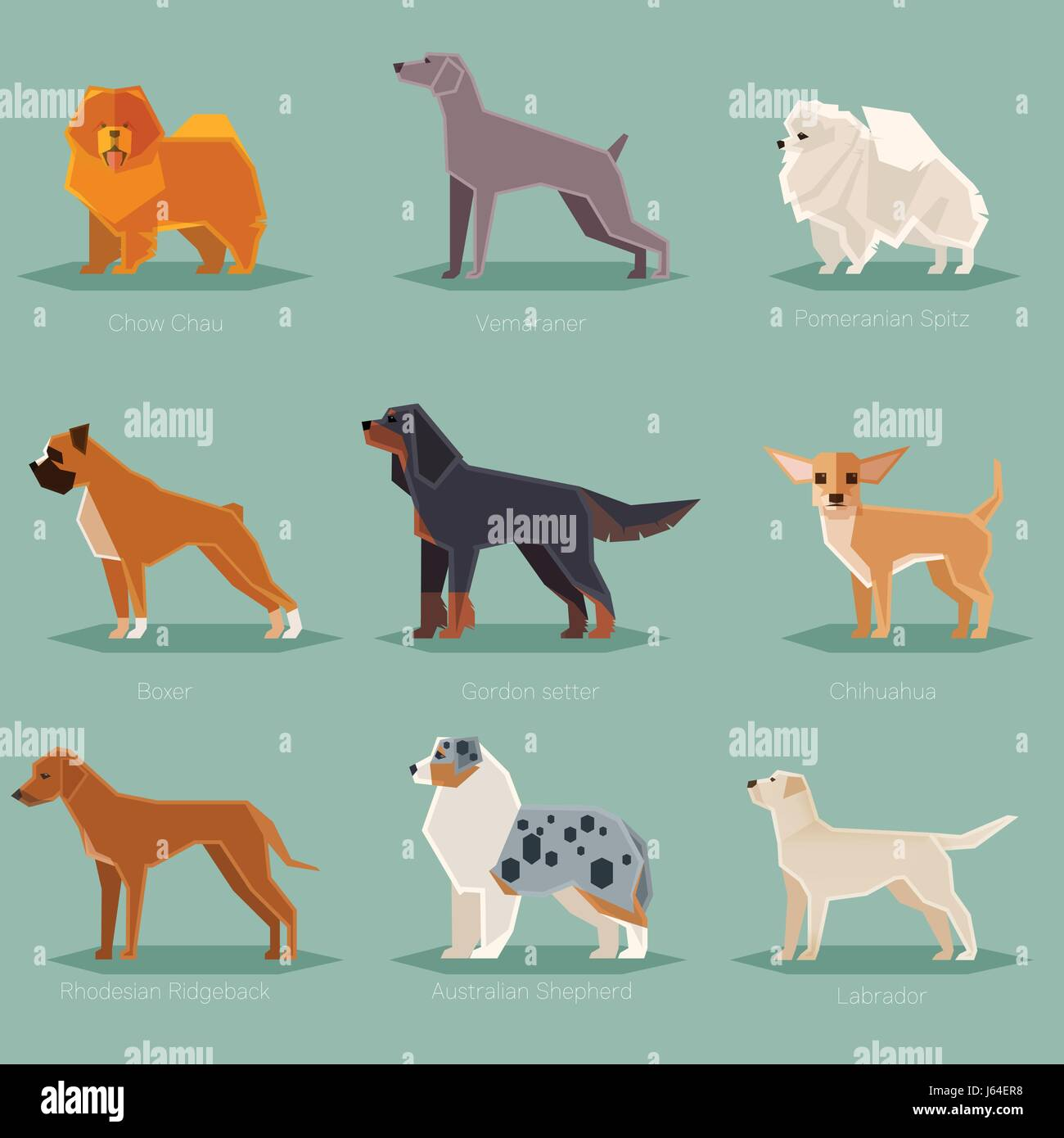 Dog flat icons set Stock Vector