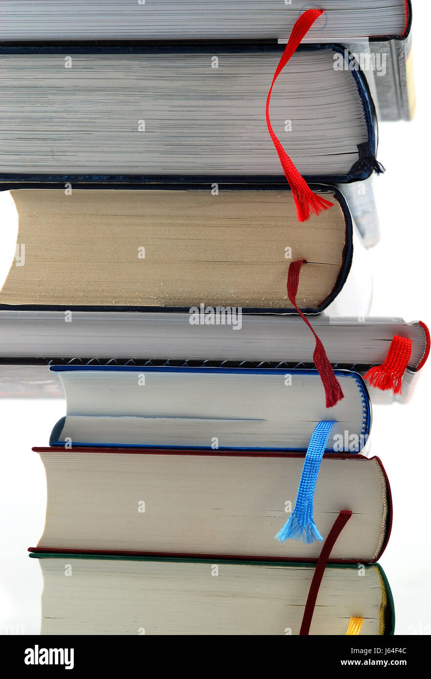 books novels nonfiction bookmarker bookmark scanning reads book tower learn - Stock Image