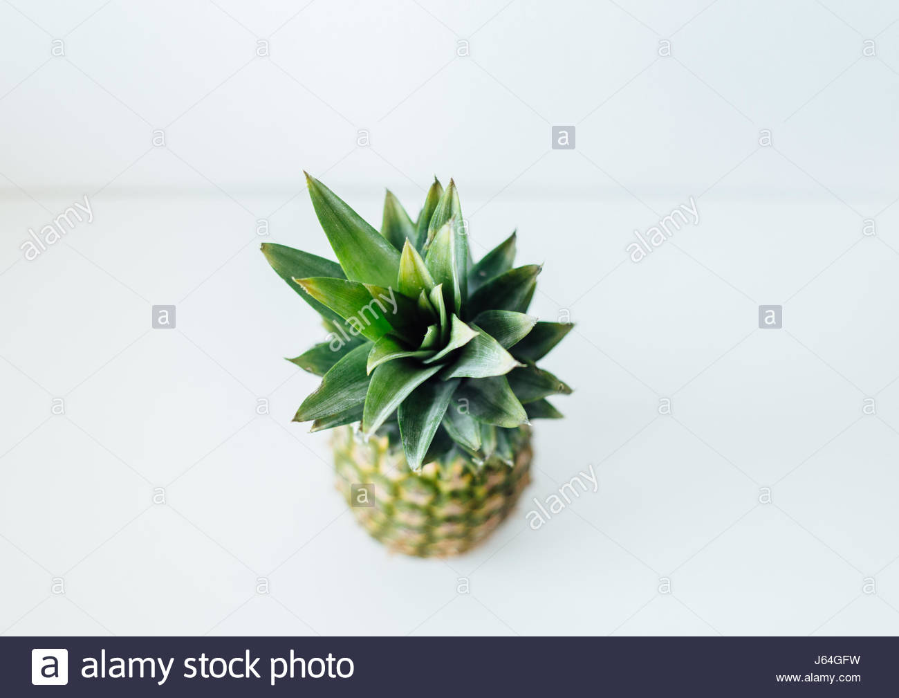 Pineapple fruit studio shot, high angle view - Stock Image