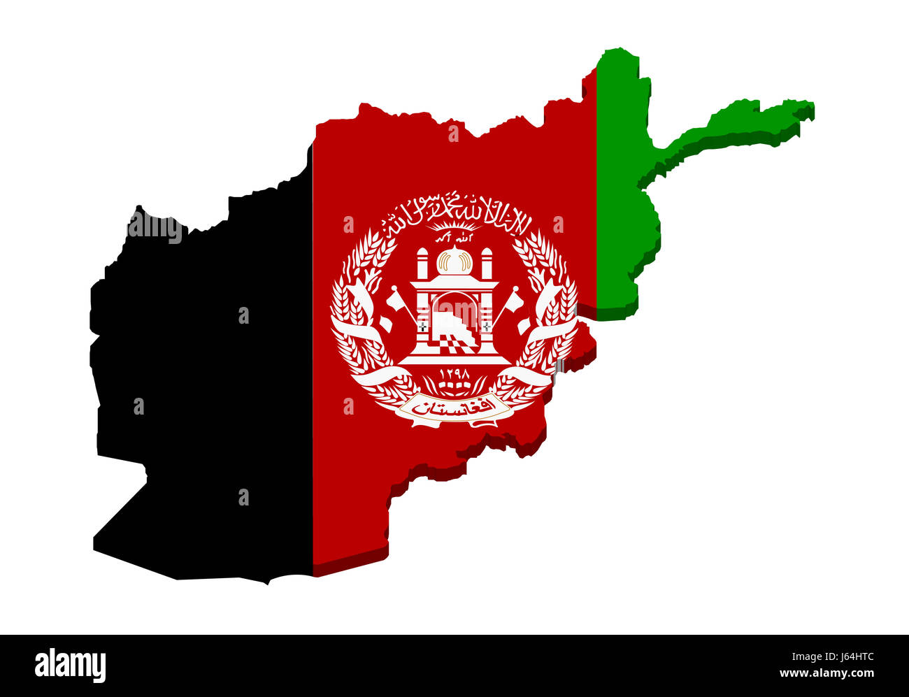 flag afghanistan geography map atlas map of the world green black ...