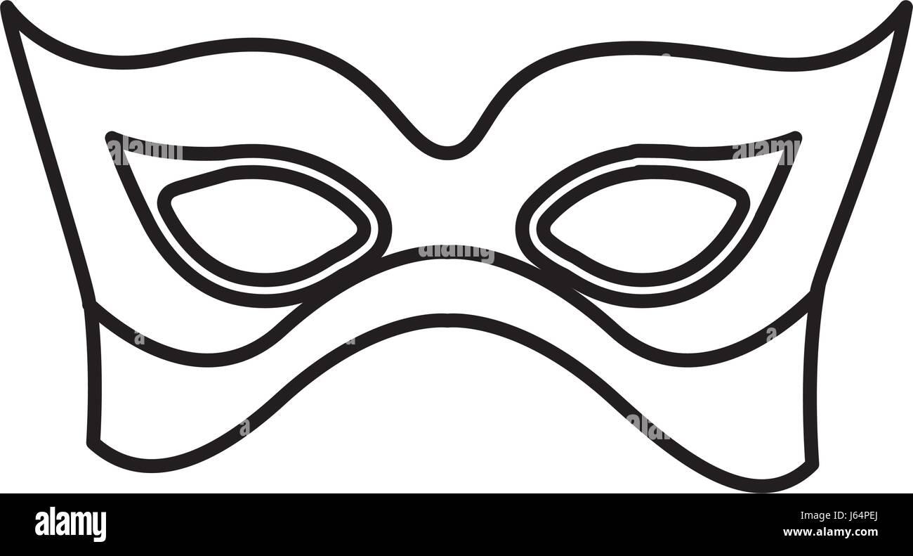 monochrome silhouette with elegant venetian mask - Stock Image