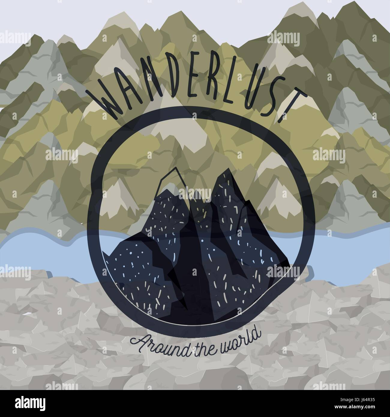 background blur mountains scenary with wanderlust logo rocky mountains - Stock Vector