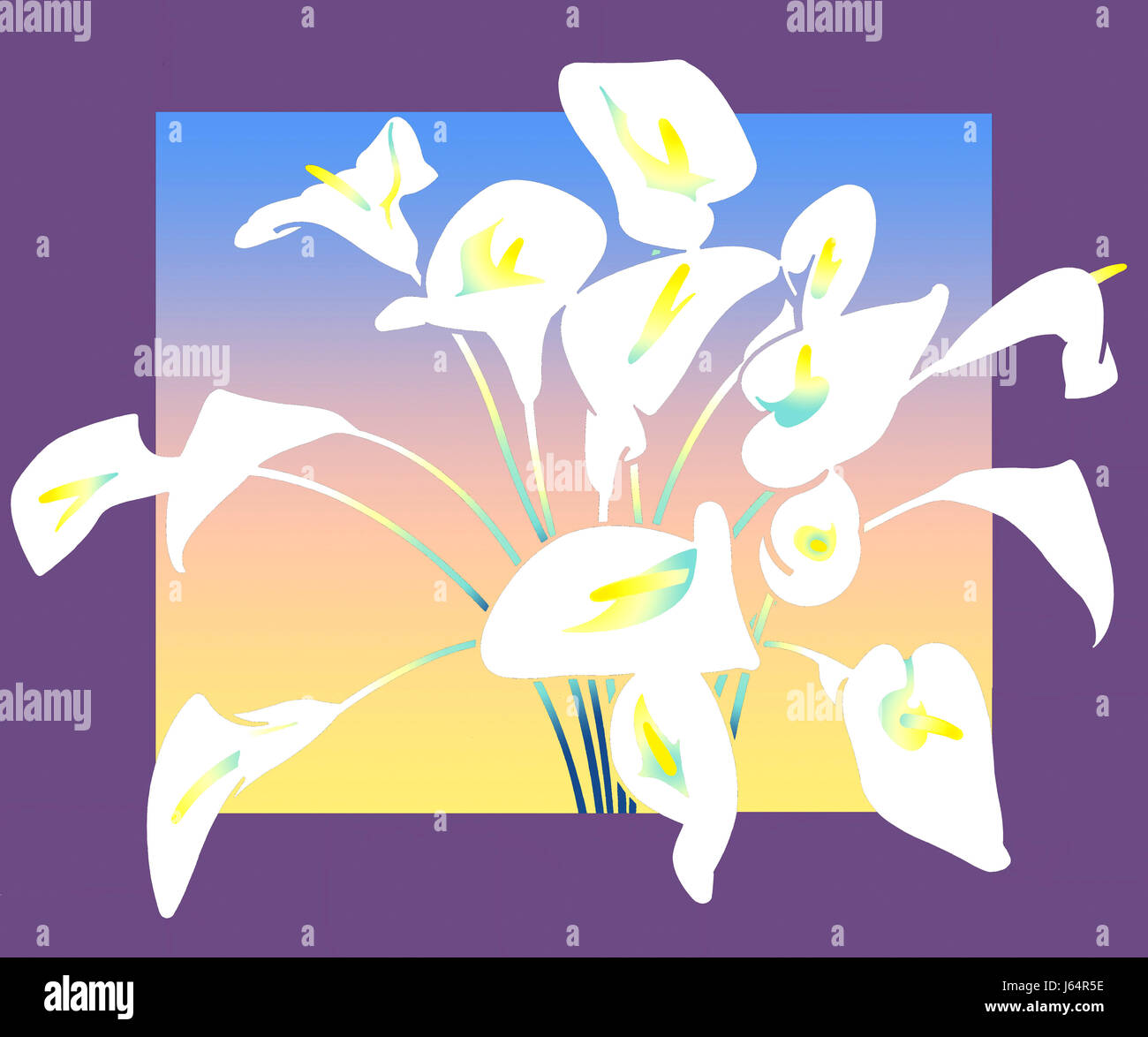 Bouquet of white lilies - Stock Image