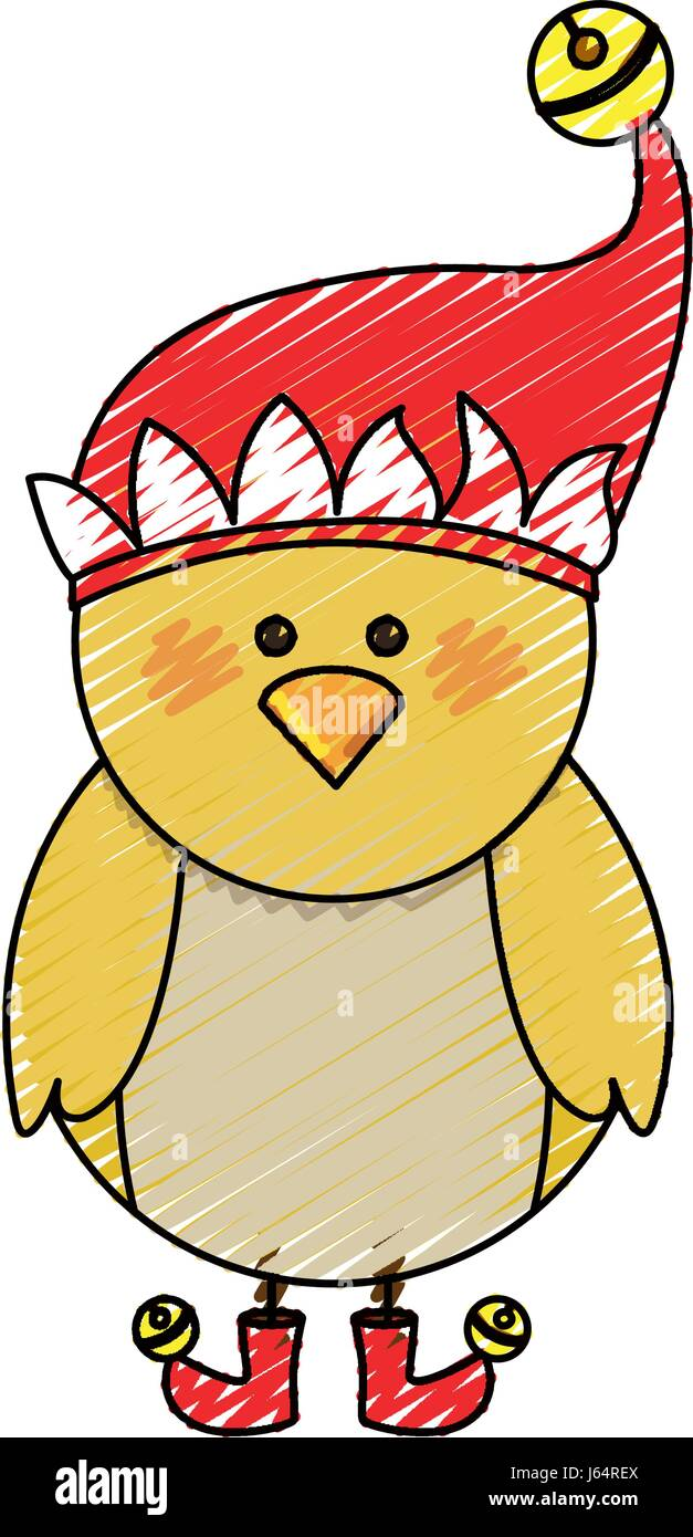 Christmas Hat Cartoon.Color Crayon Stripe Cartoon Of Chicken With Boots And