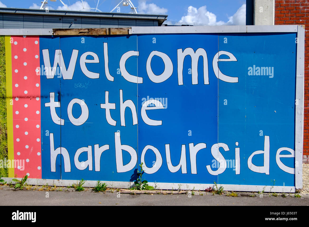 Welcome to the Harbourside Sign, Bristol - Stock Image