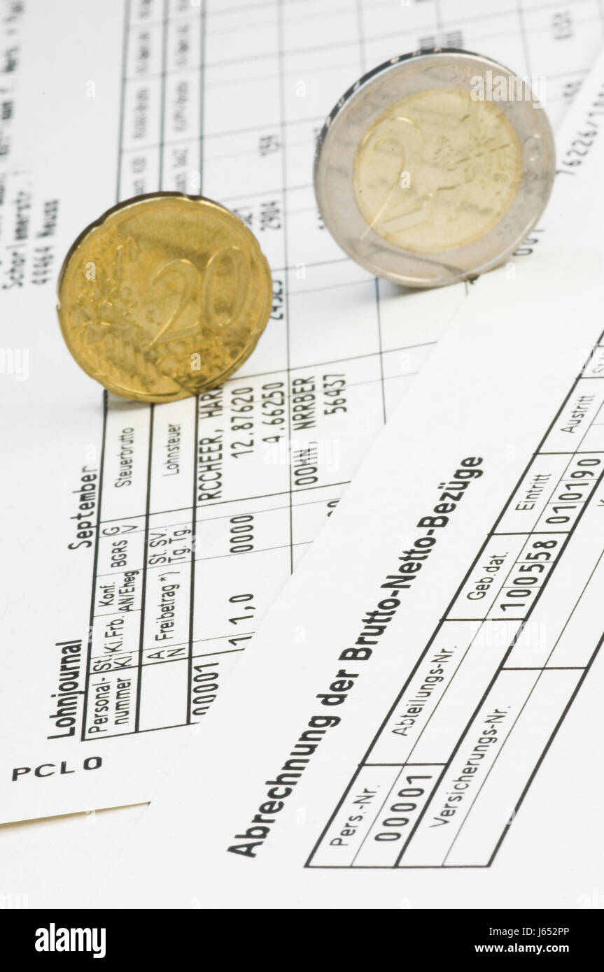 salary merit income pay slip payroll accounting wages wage euro coins deserve Stock Photo
