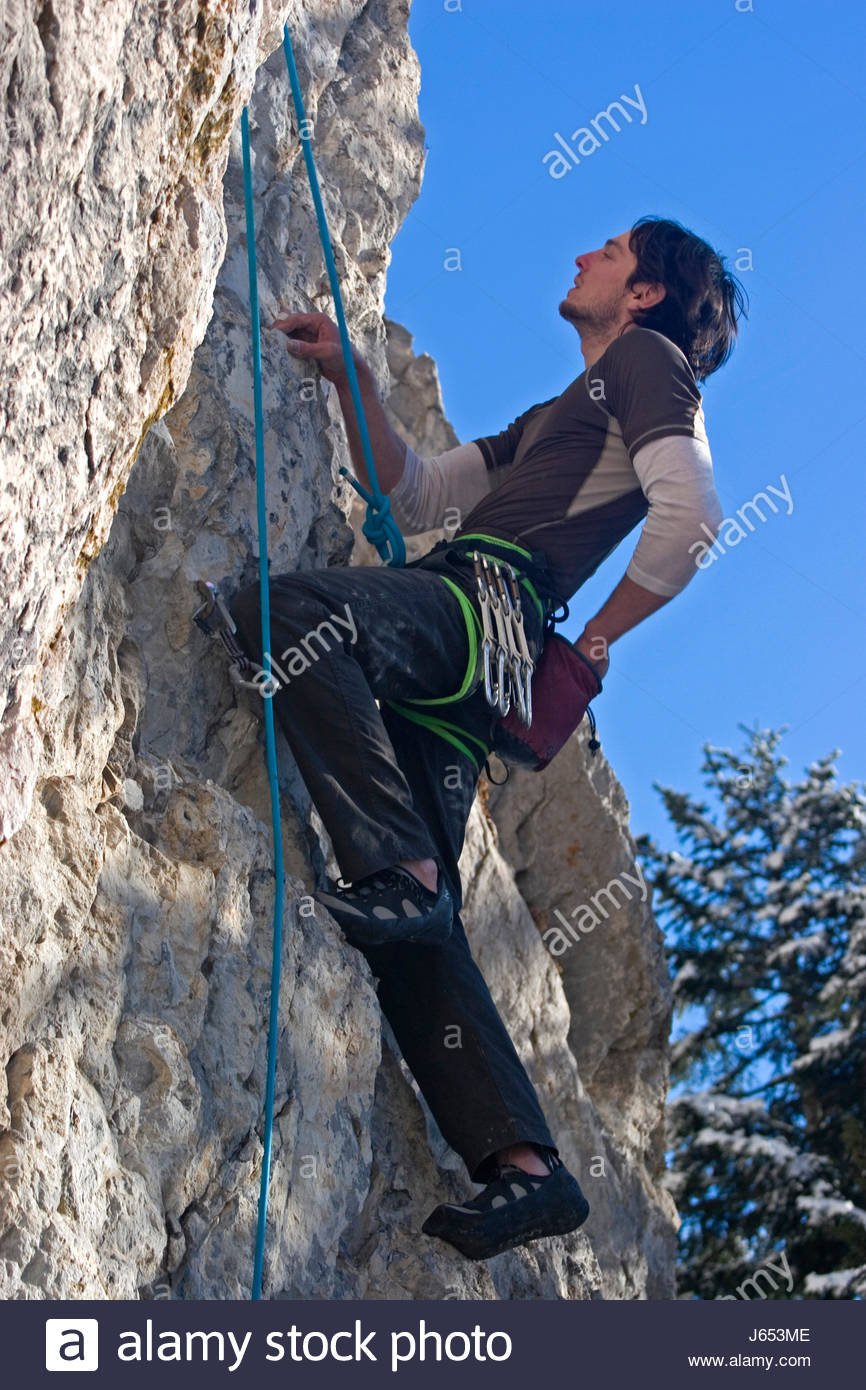 extreme haven rise climb climbing ascend uphill tread clamber mountain haven - Stock Image