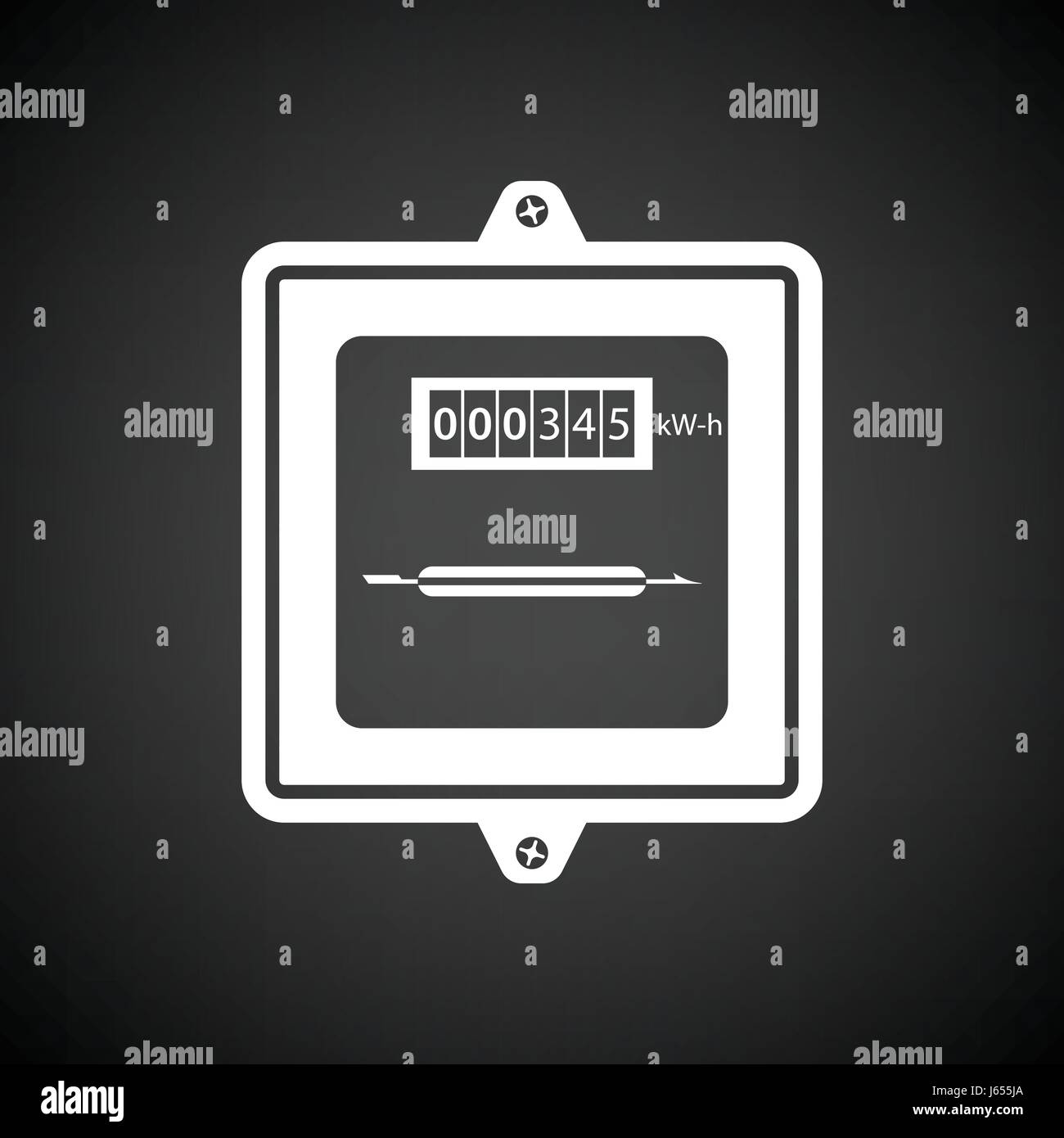 Electric meter icon. Black background with white. Vector Stock ...
